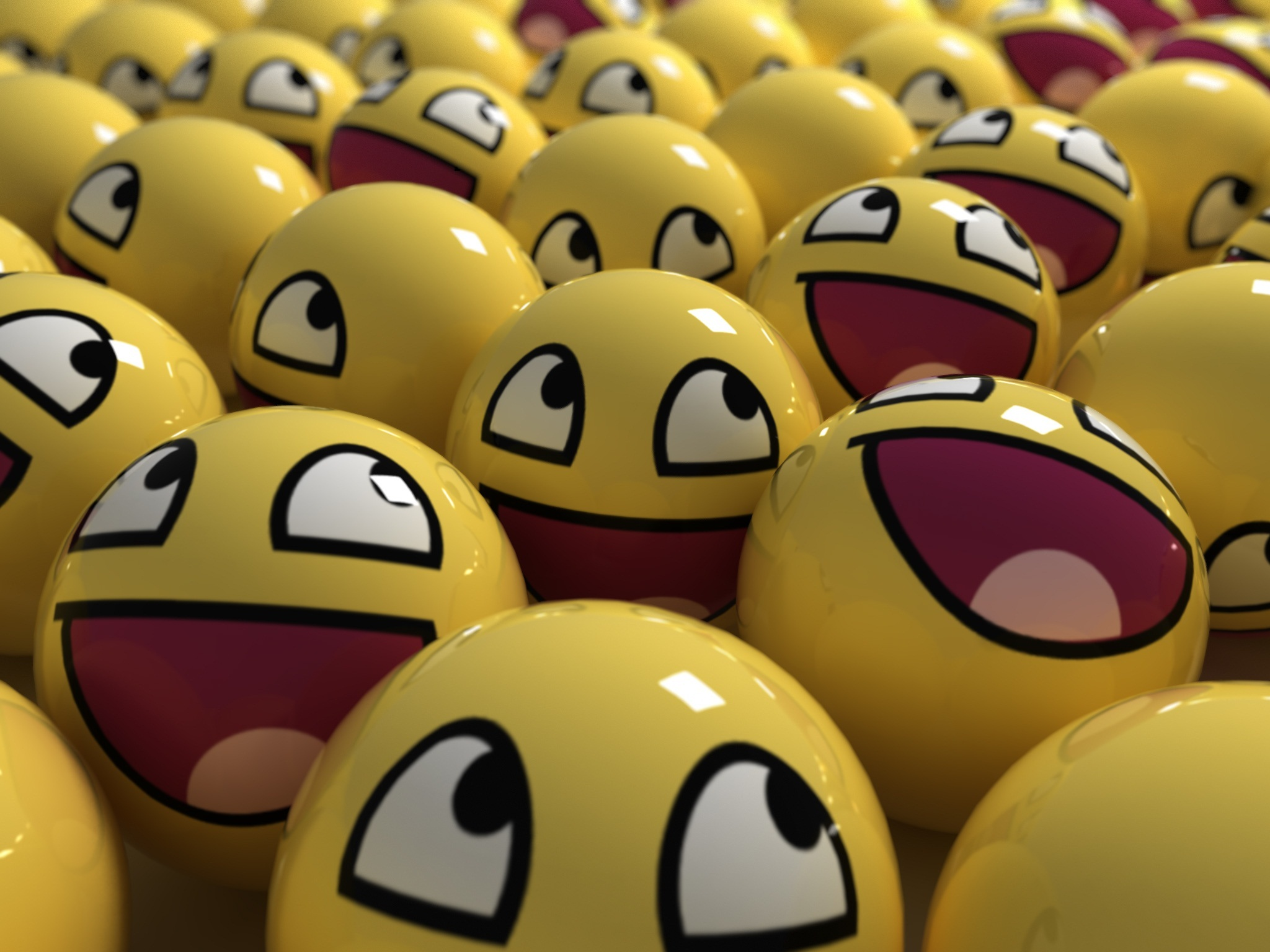 3D view balls smiley HD Wallpaper