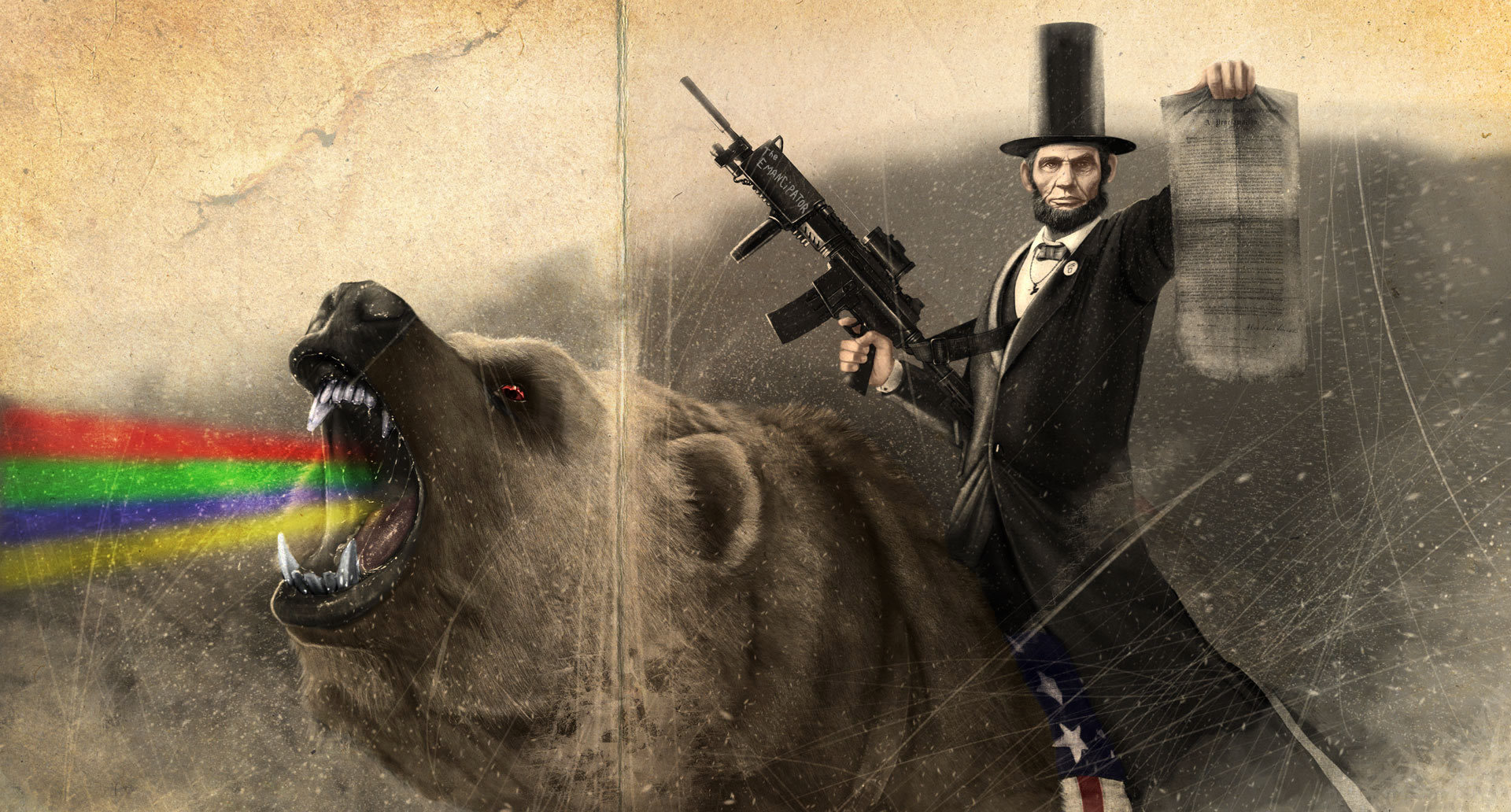 Abraham Lincoln rainbows Bears HD Wallpaper