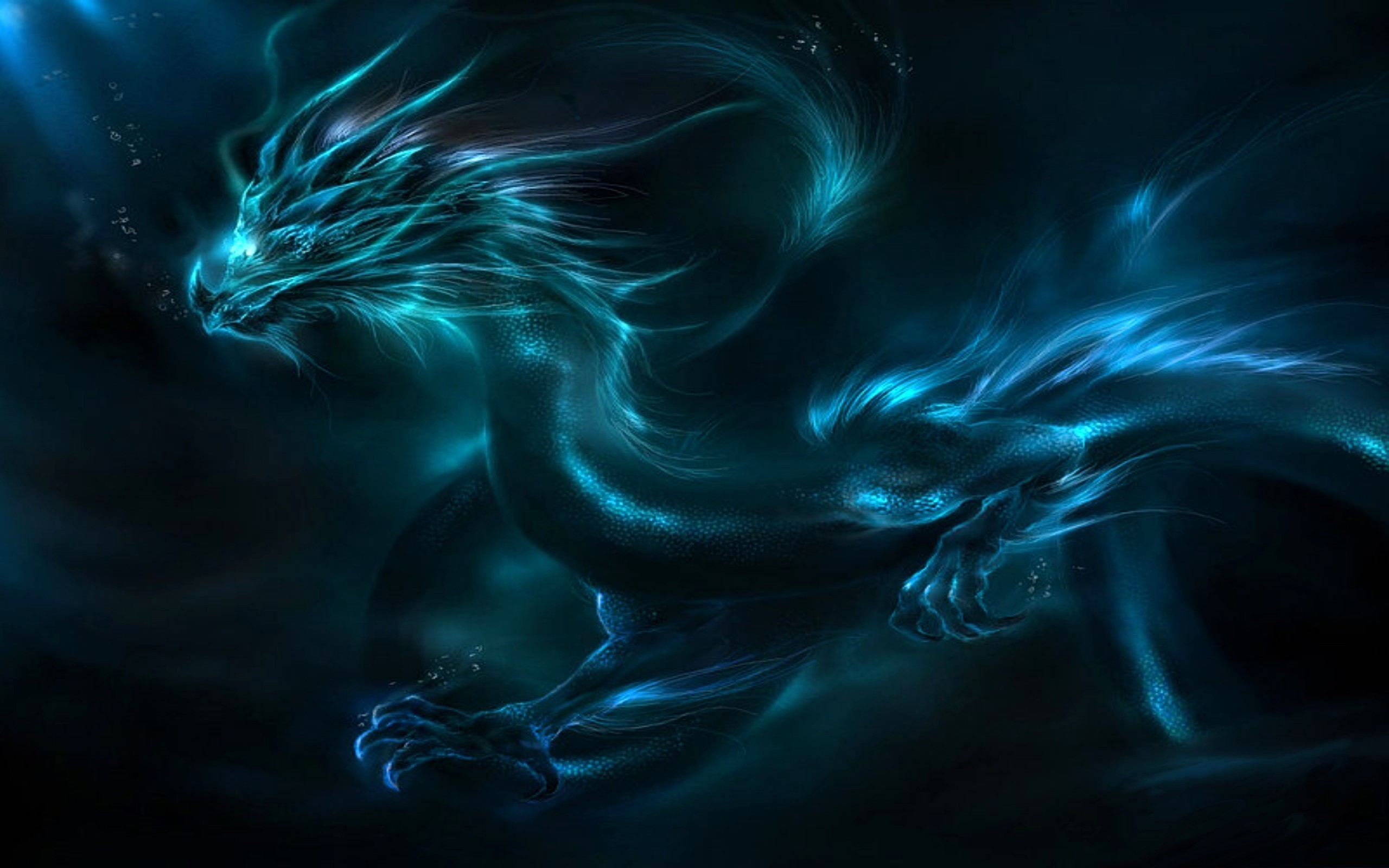 abstract blue dragon Animals HD Wallpaper
