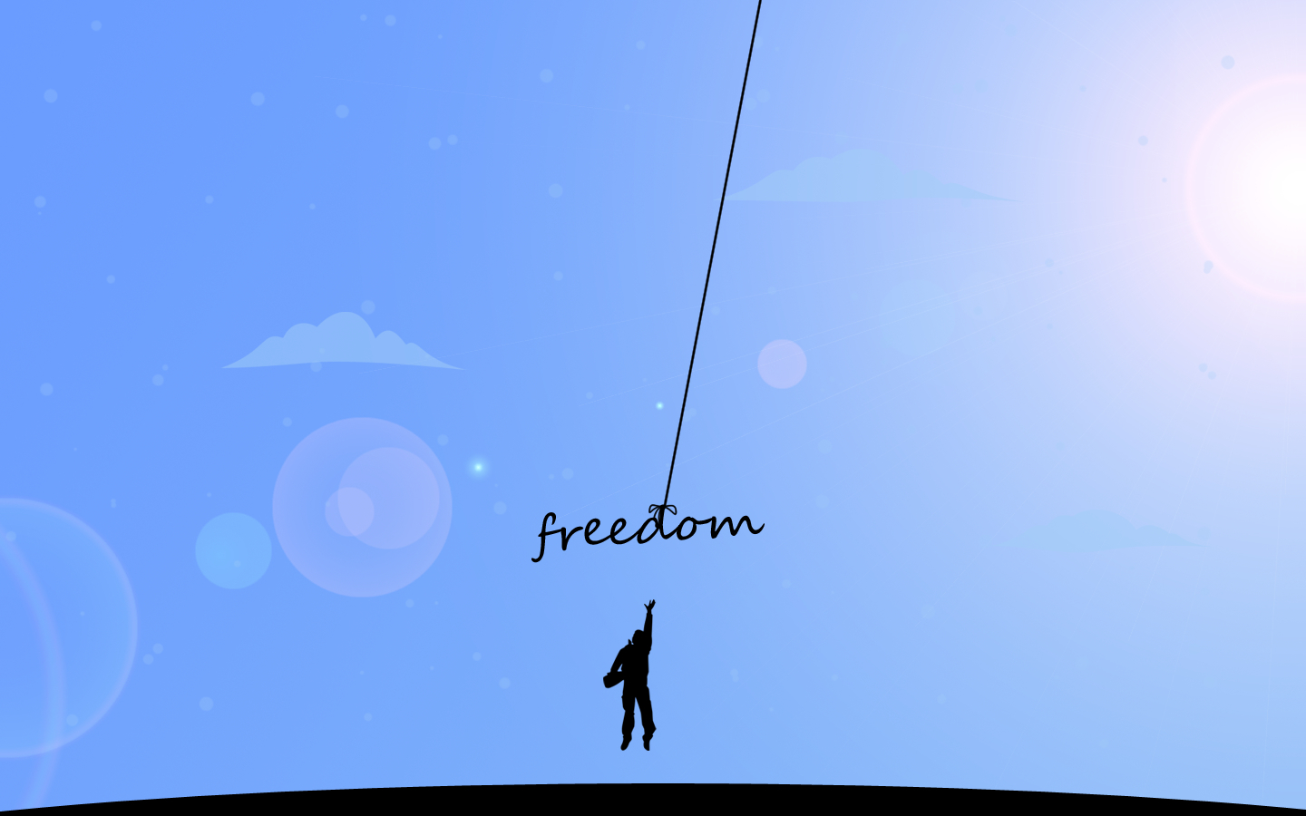 abstract blue freedom minimalistic HD Wallpaper