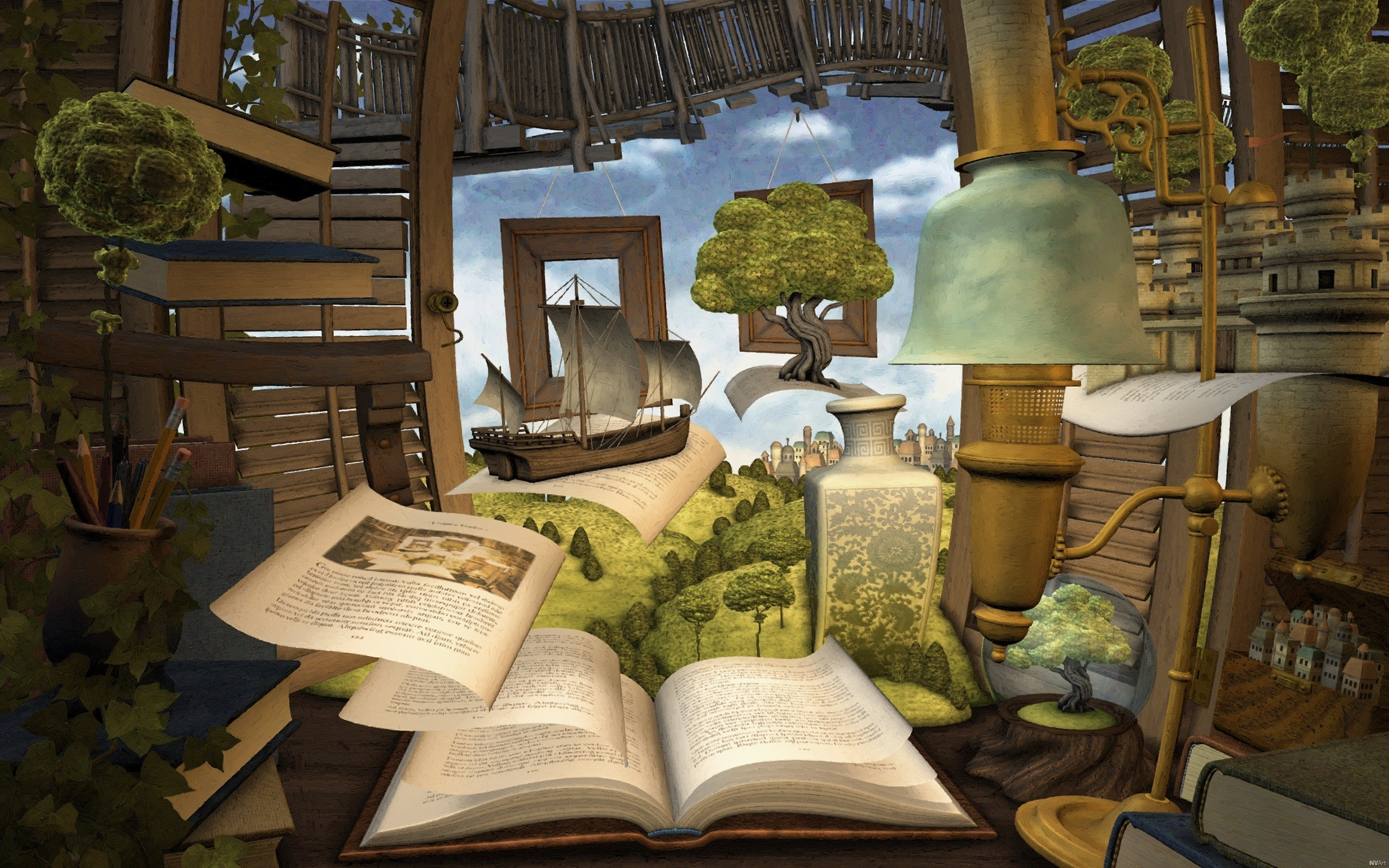 abstract Books surreal HD Wallpaper