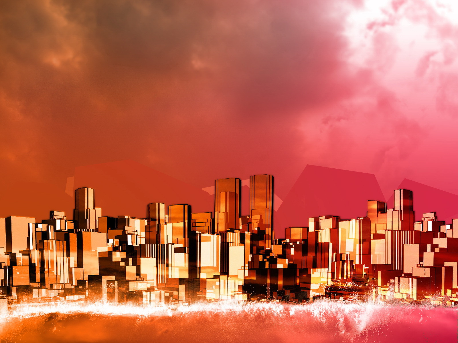 abstract fantasy City artwork HD Wallpaper