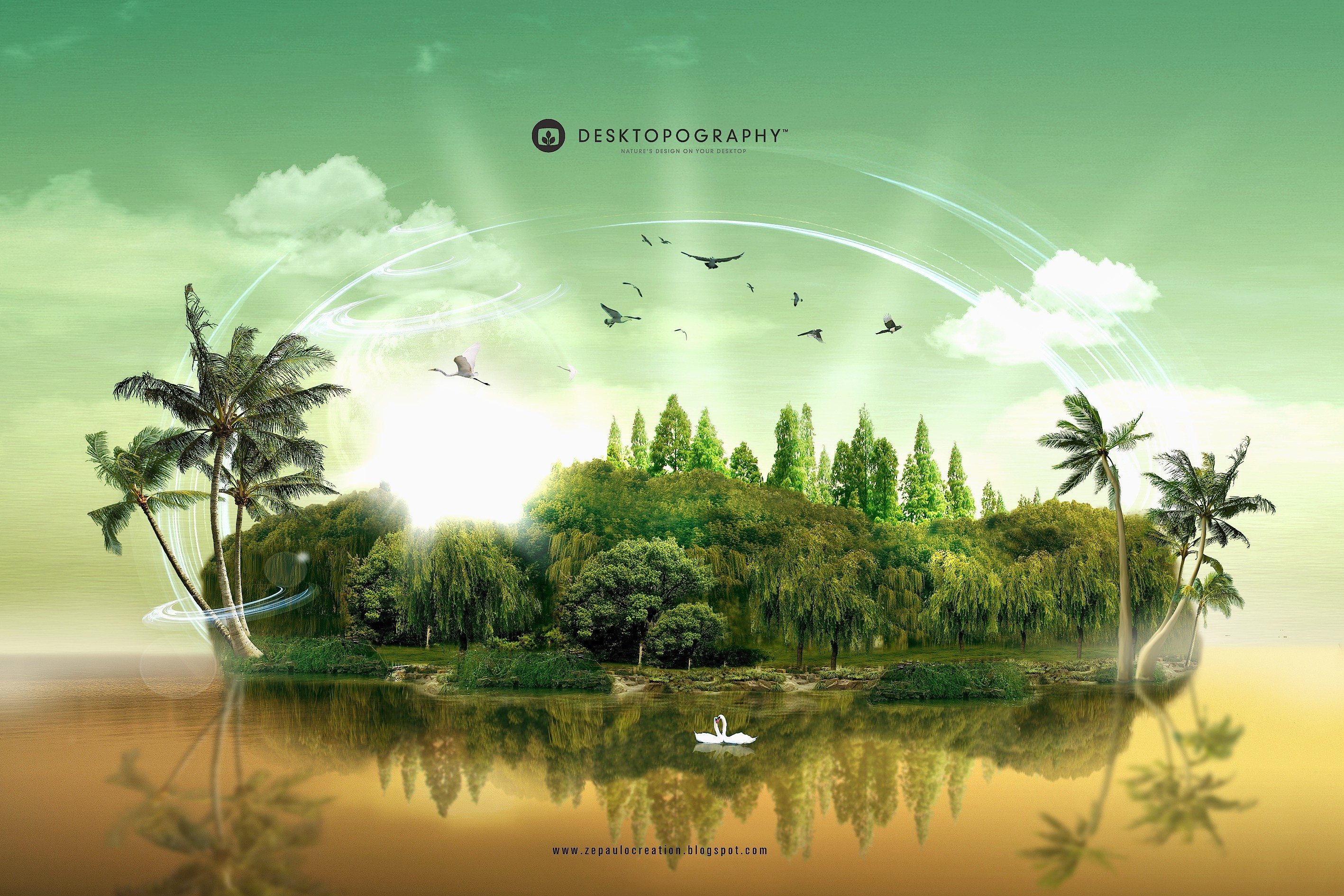abstract Islands Desktopography HD Wallpaper