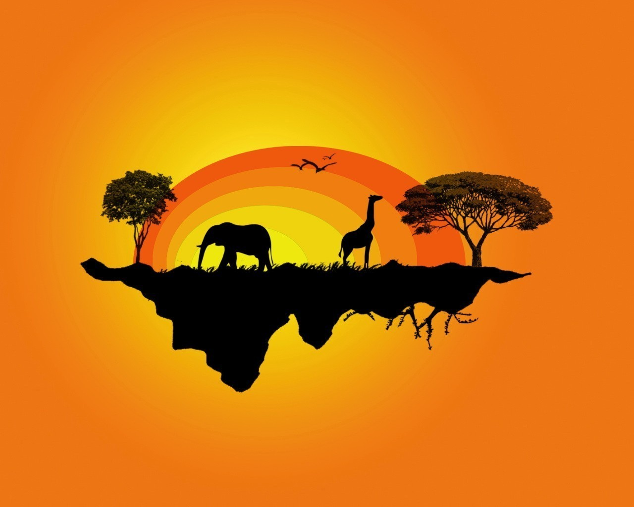 abstract silhouettes elephants Giraffes HD Wallpaper