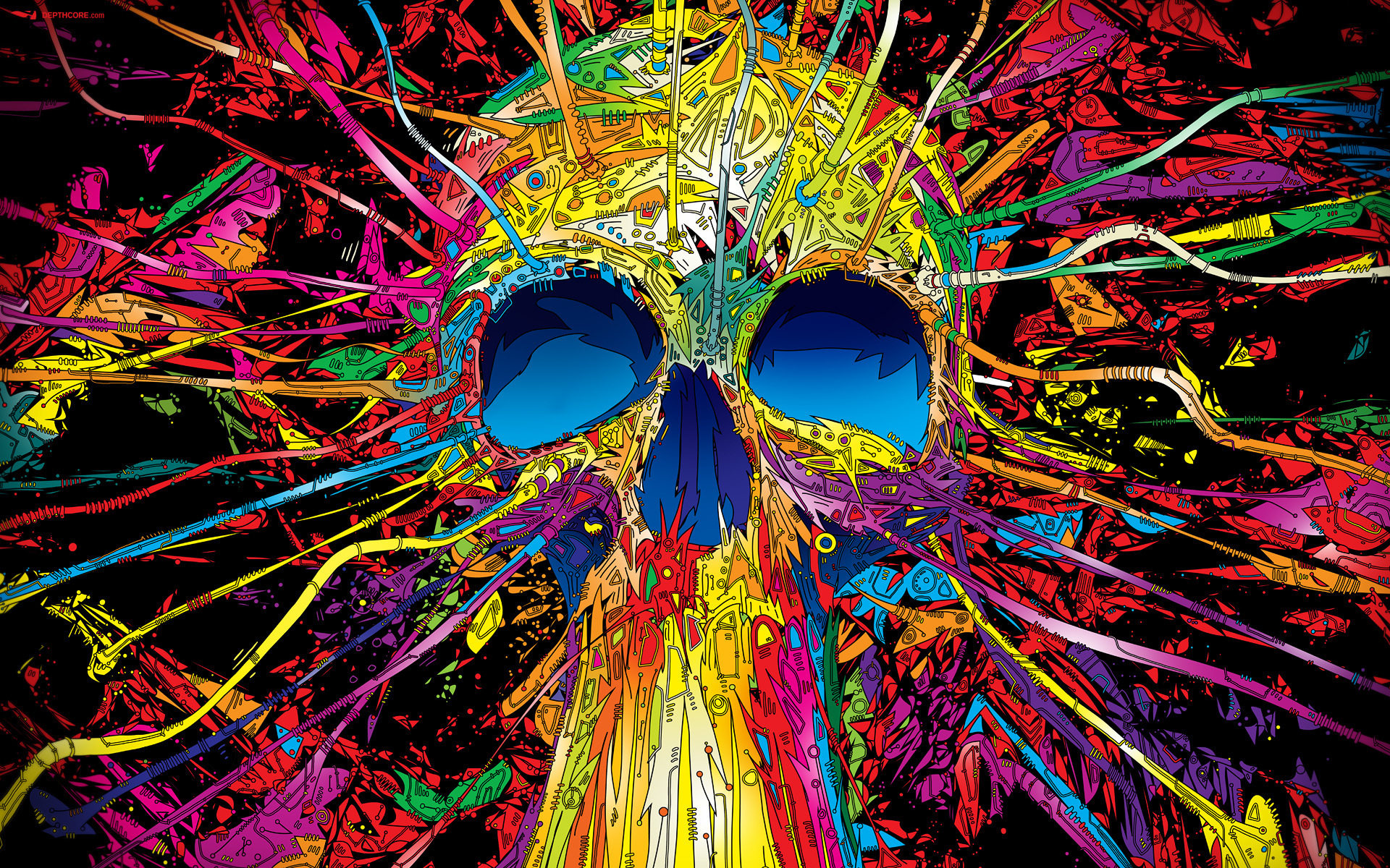 abstract skulls multicolor Matei HD Wallpaper