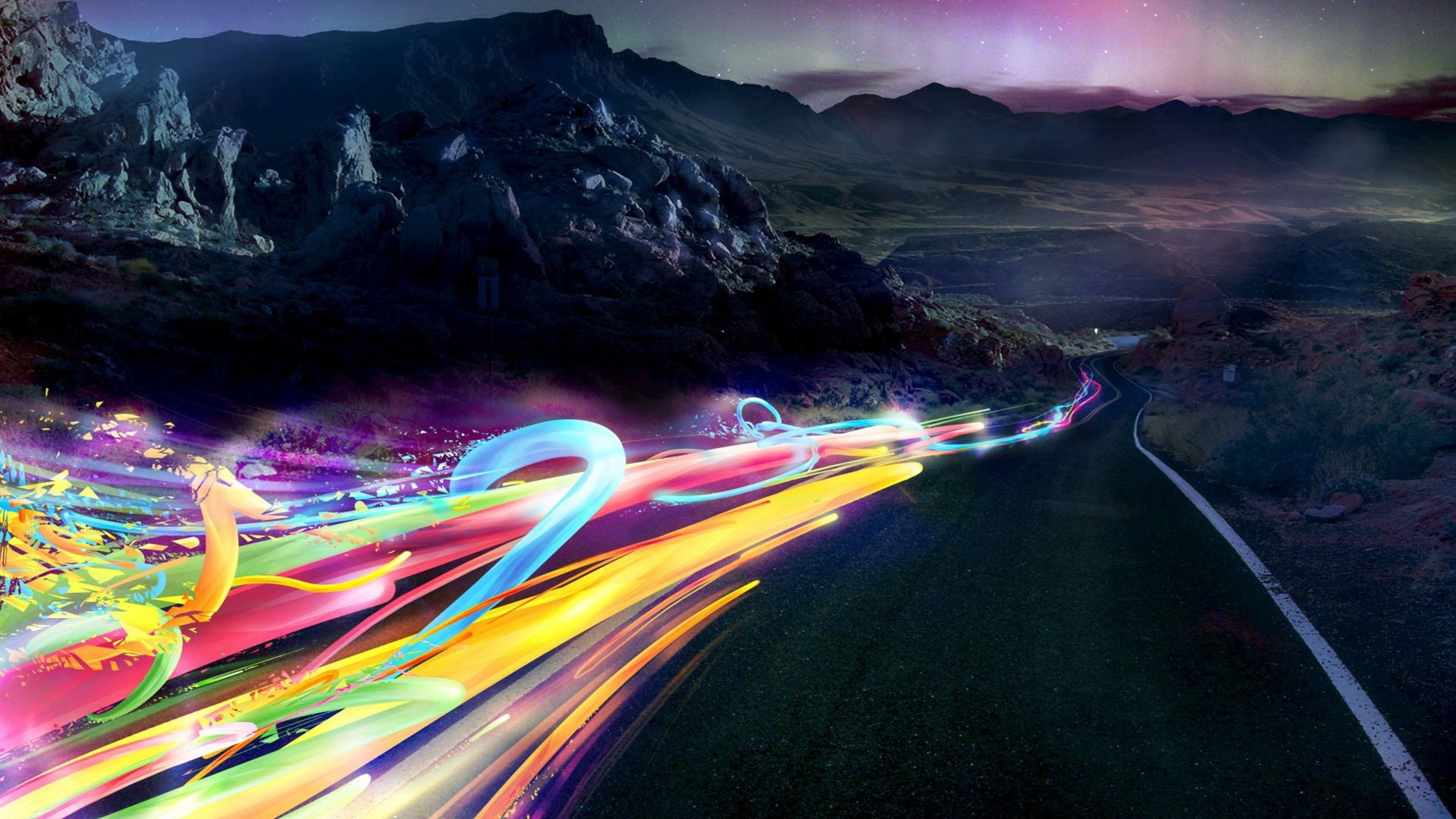abstract streets multicolor aurora HD Wallpaper
