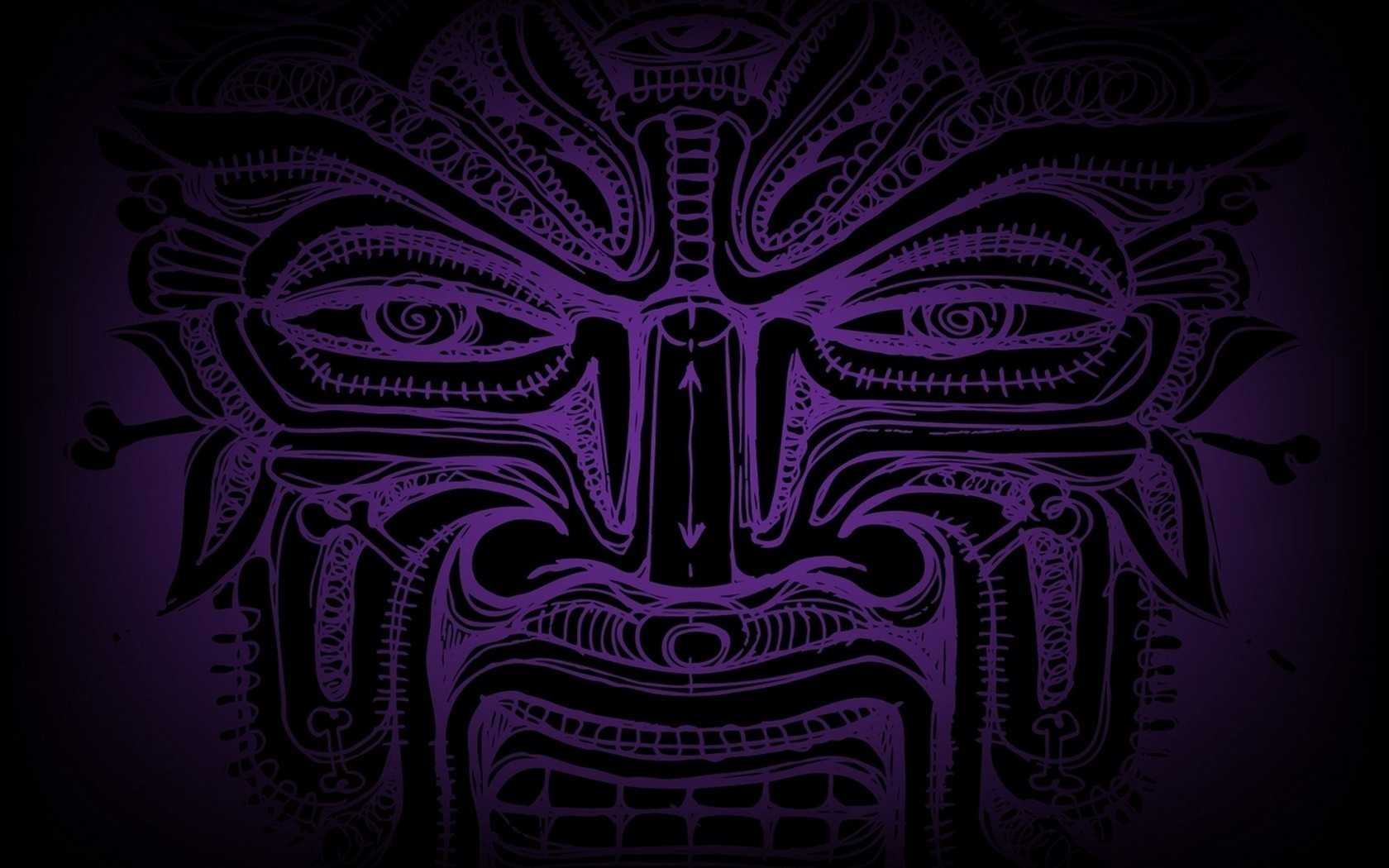 abstract Tribal purple faces HD Wallpaper