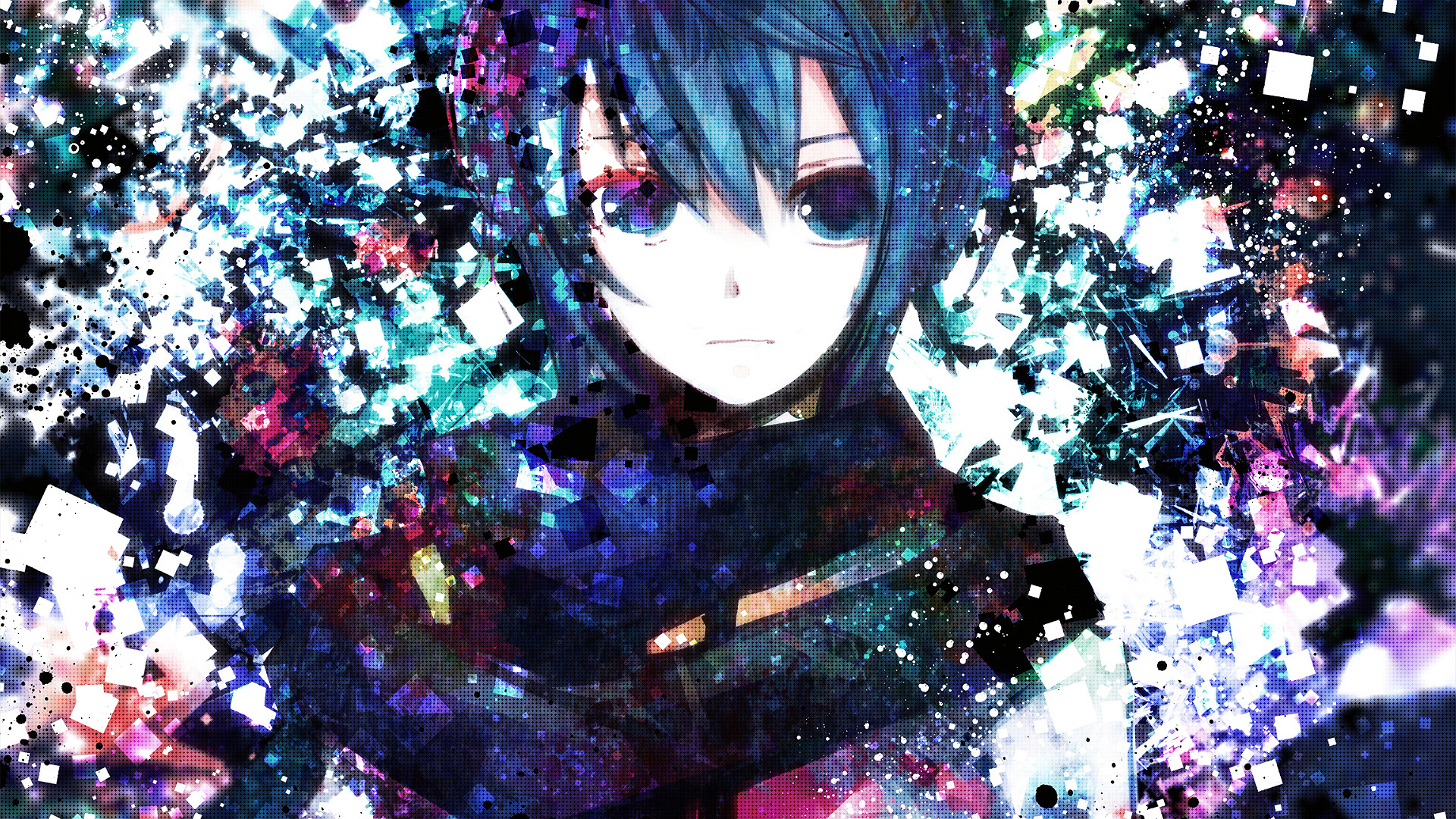 abstract vocaloid multicolor blue HD Wallpaper