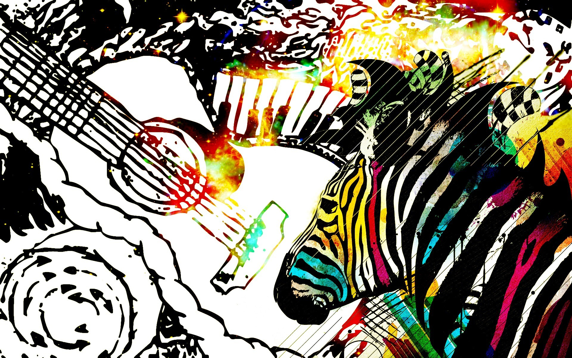 abstract zebras guitars HD Wallpaper