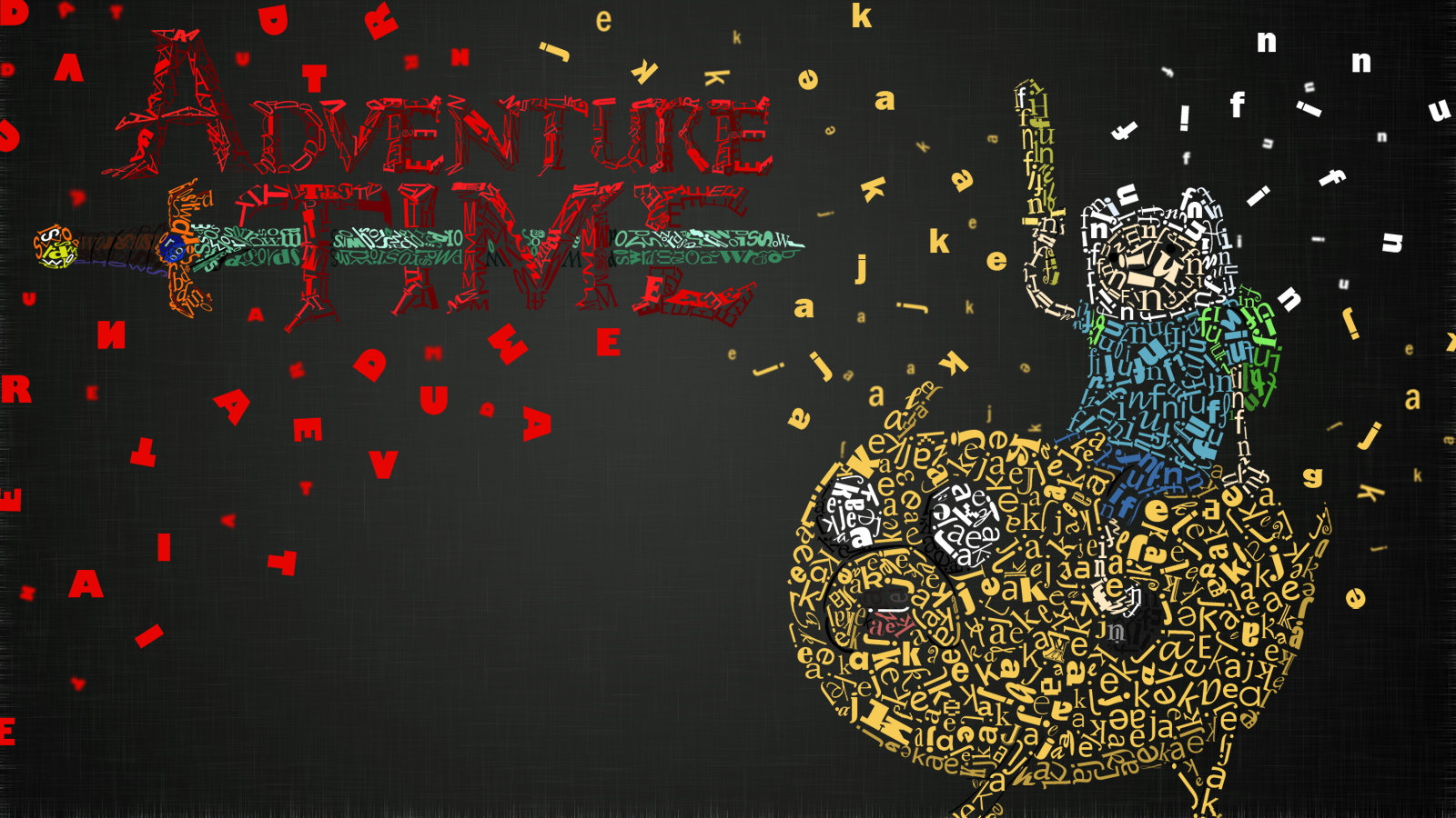 Adventure time typographic portrait HD Wallpaper