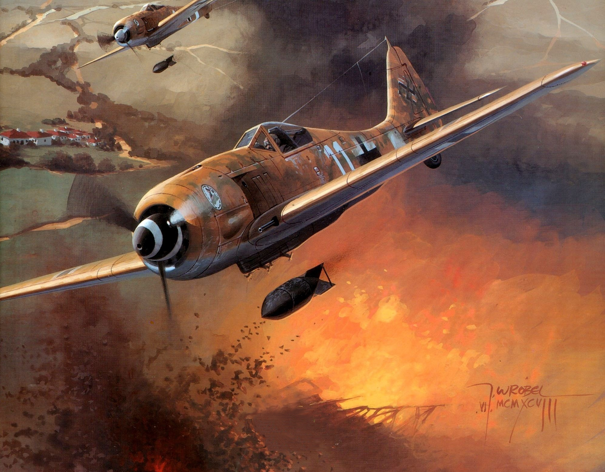 Aircraft ships Focke Wulf HD Wallpaper