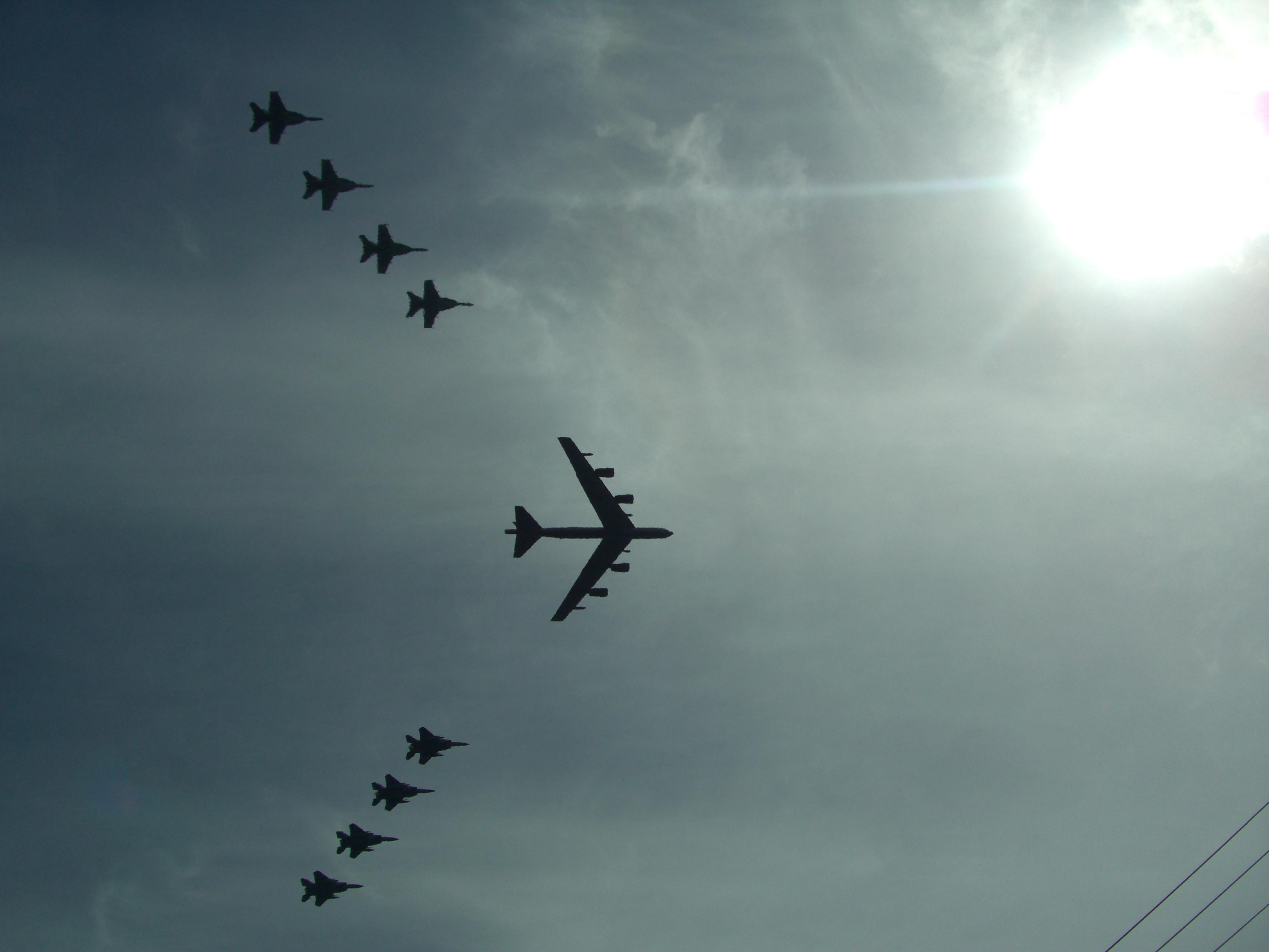 airplane Formation touched it HD Wallpaper