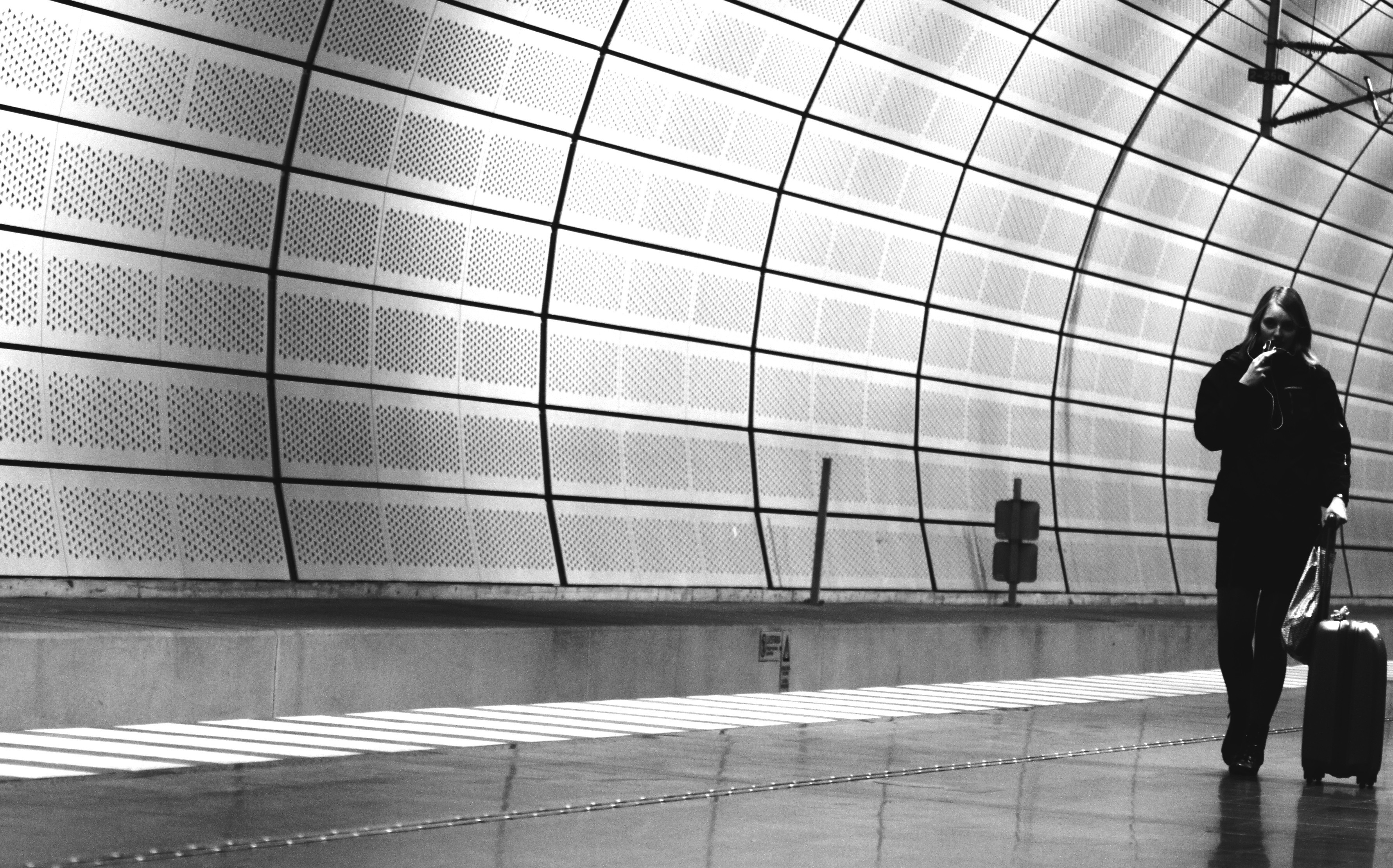airports monochrome travel HD Wallpaper