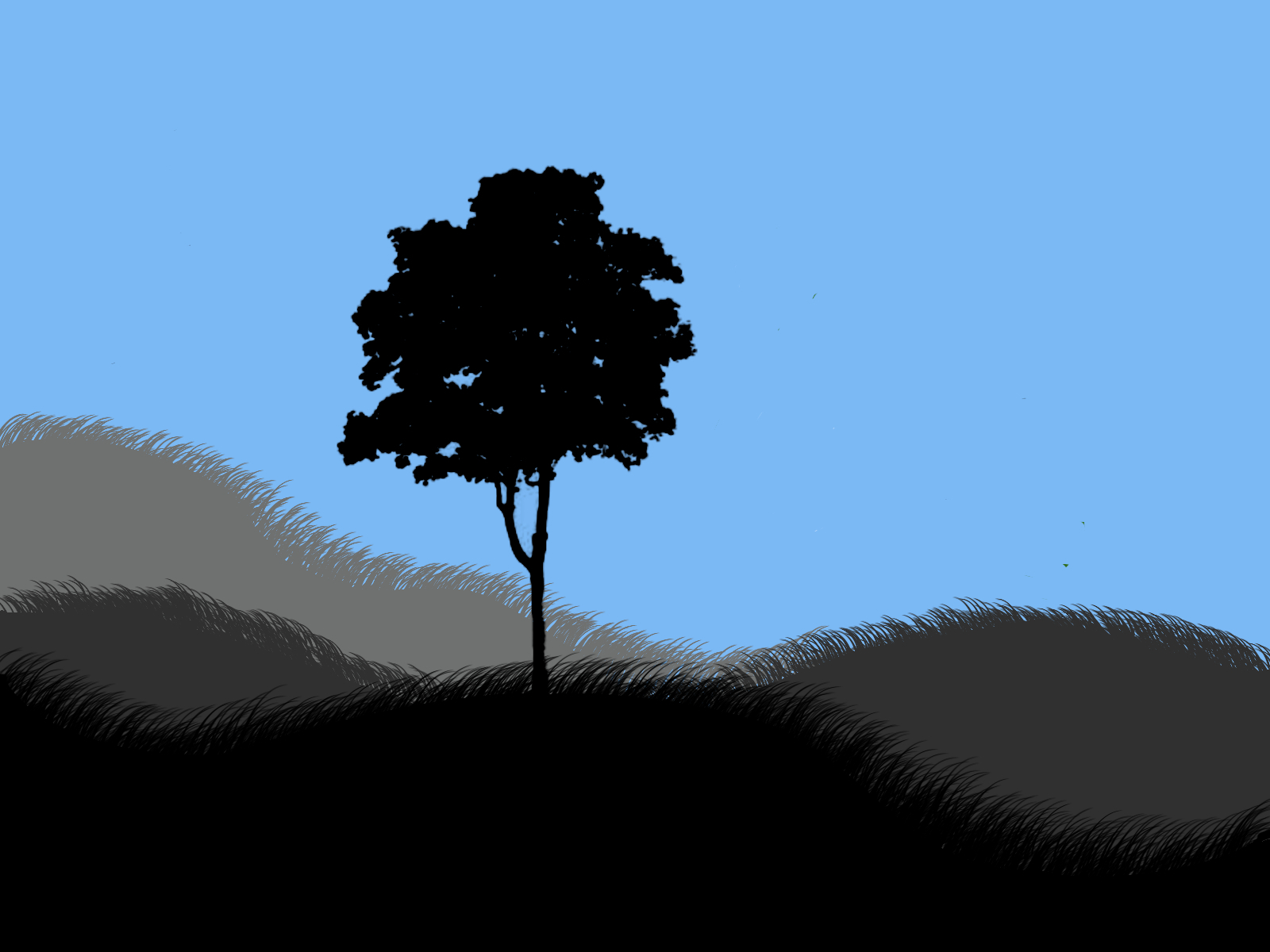 alone tree silhouettes grass HD Wallpaper