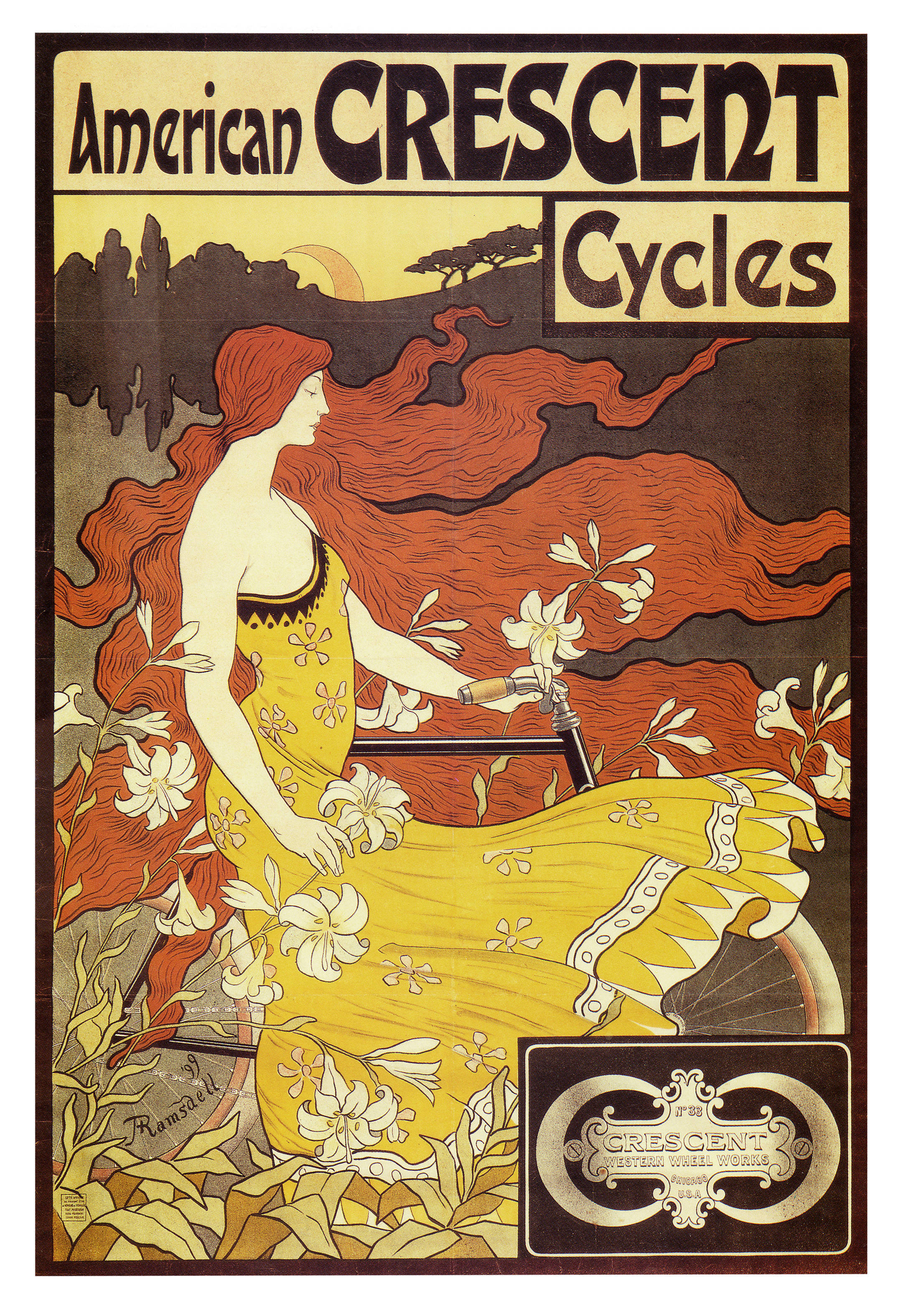 American crescent cycles mucha HD Wallpaper