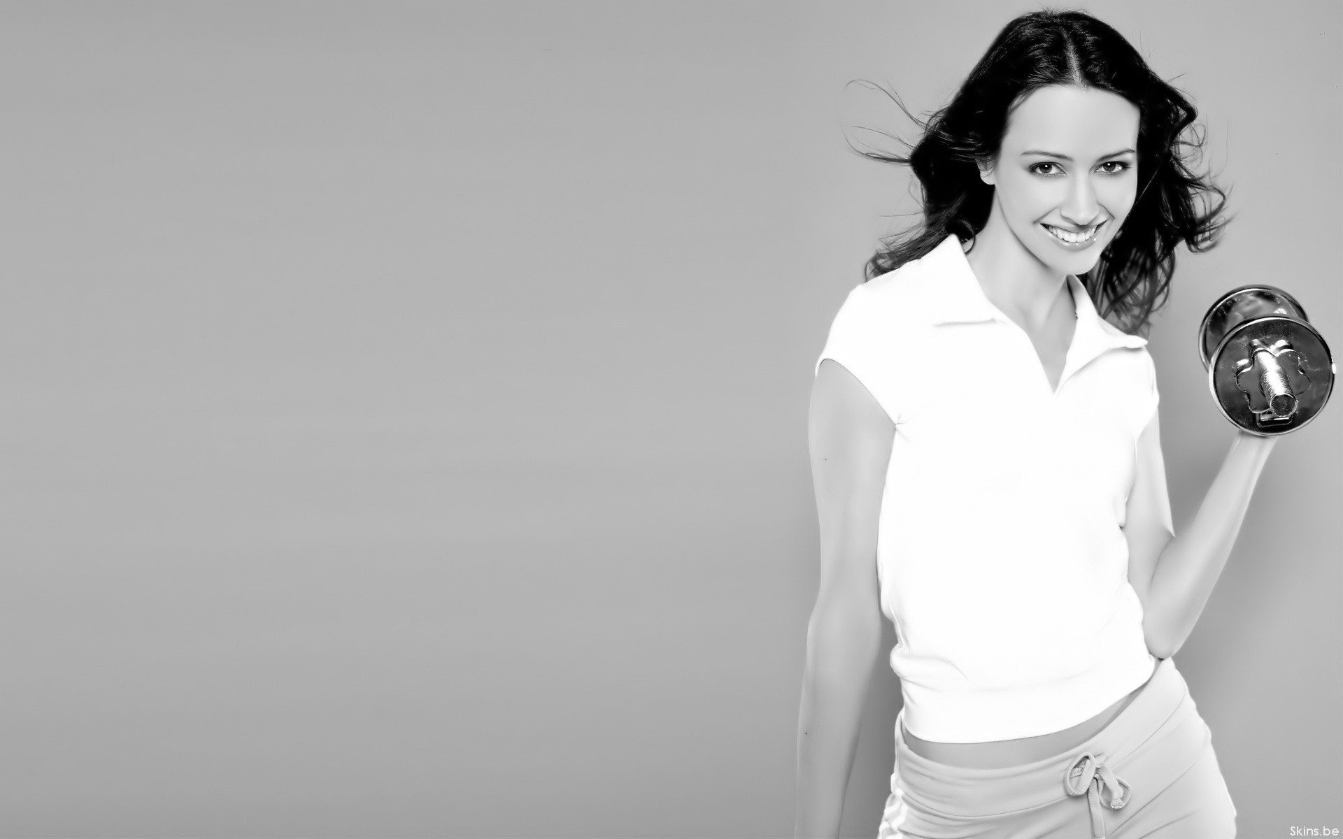 Amy Acker grayscale fitness HD Wallpaper