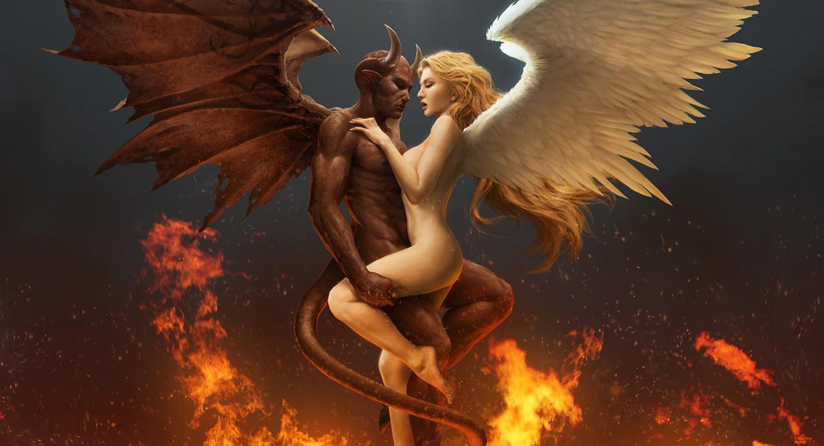 angels demons artwork HD Wallpaper