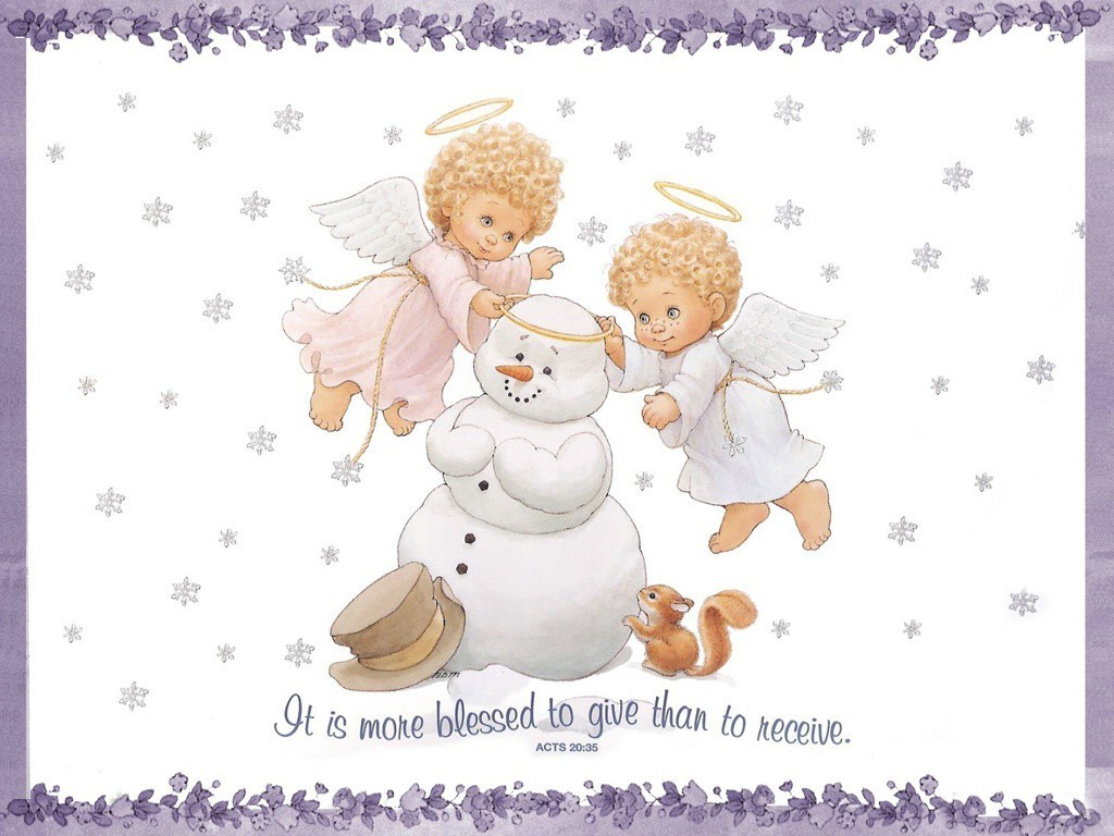 angels Snowmen Christmas christianity HD Wallpaper