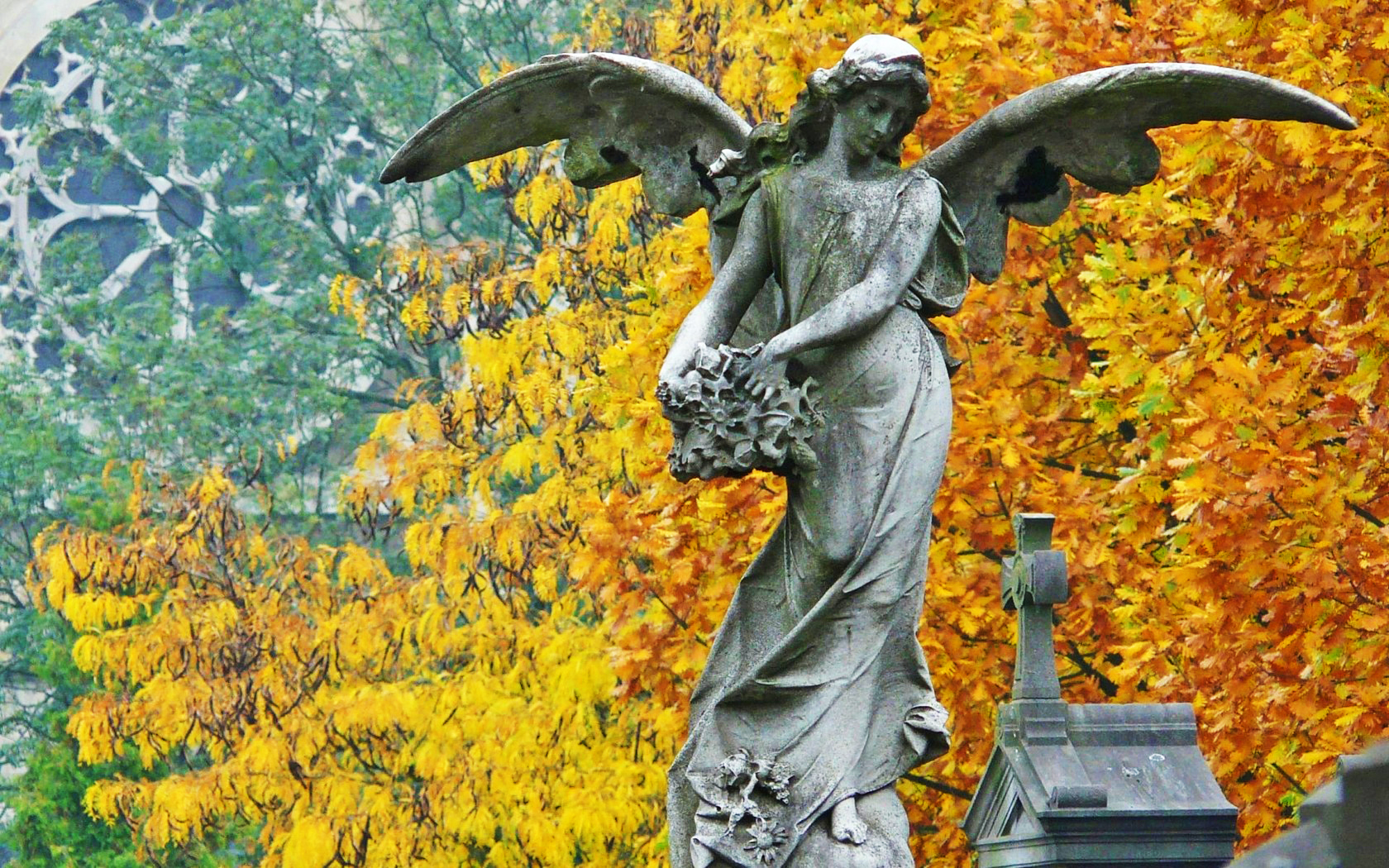 angels tombstones statues HD Wallpaper
