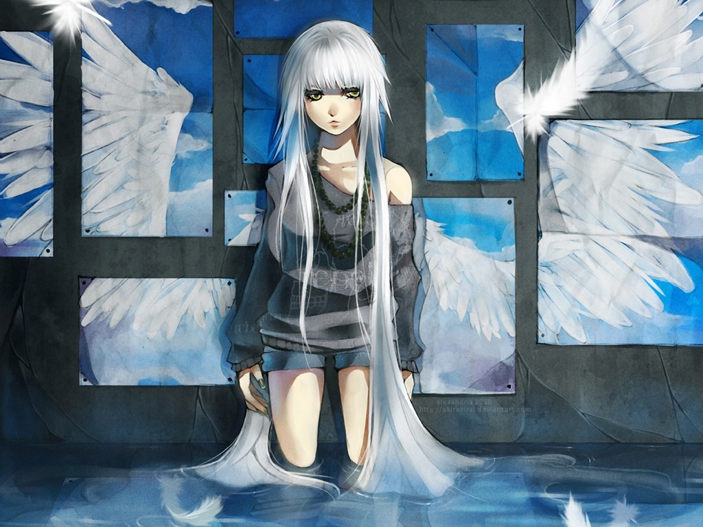 angels water wings wall HD Wallpaper