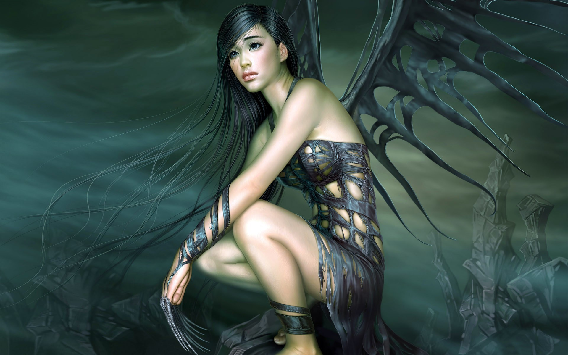 angels wings dark fantasy HD Wallpaper