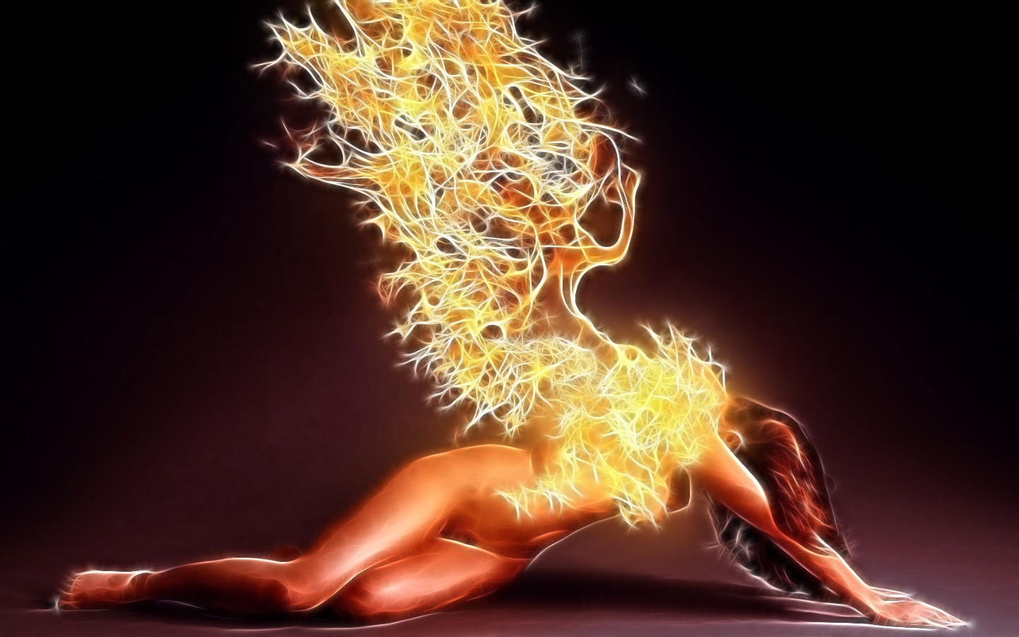 angels wings fire Fractalius HD Wallpaper