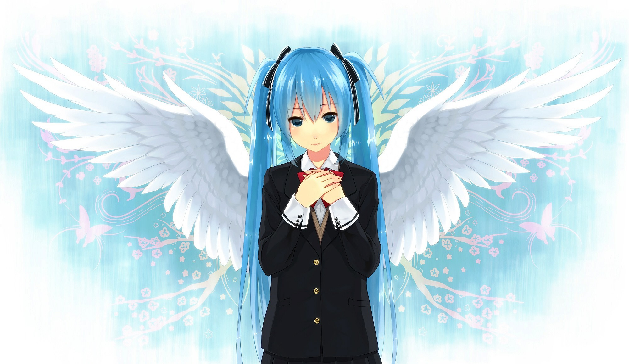 angels wings vocaloid Flowers HD Wallpaper