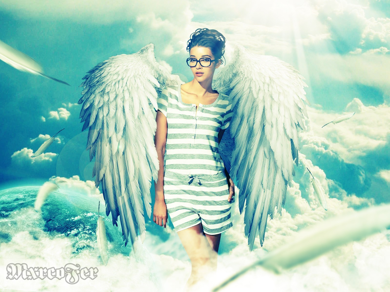 angels woman glasses digital HD Wallpaper