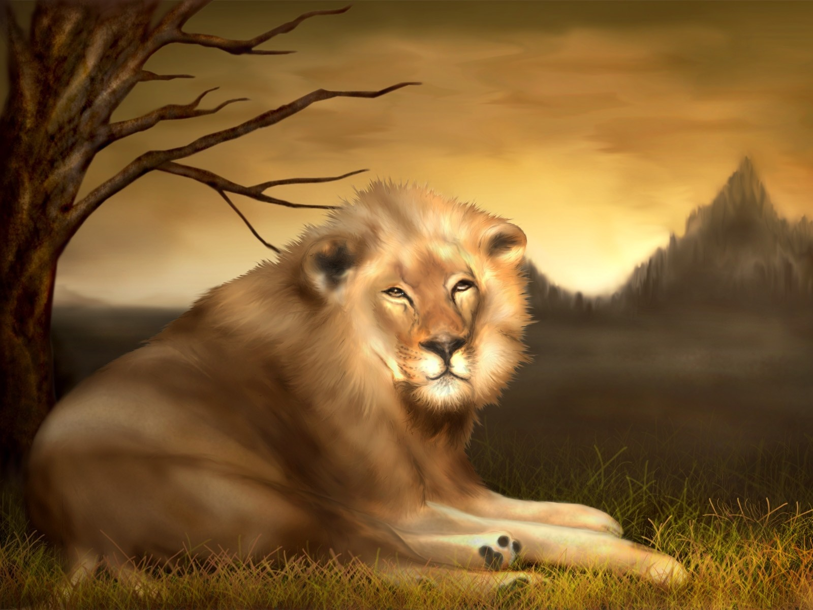 Animals Lions blurred airbrushed HD Wallpaper