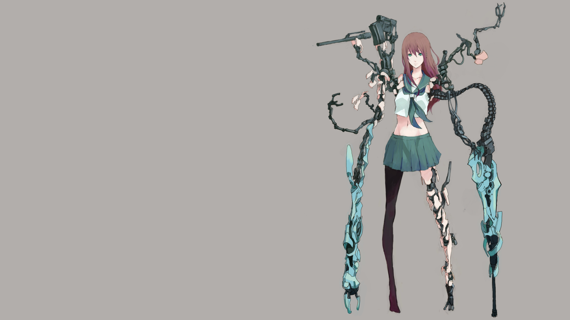 Anime girls cyborgs school HD Wallpaper
