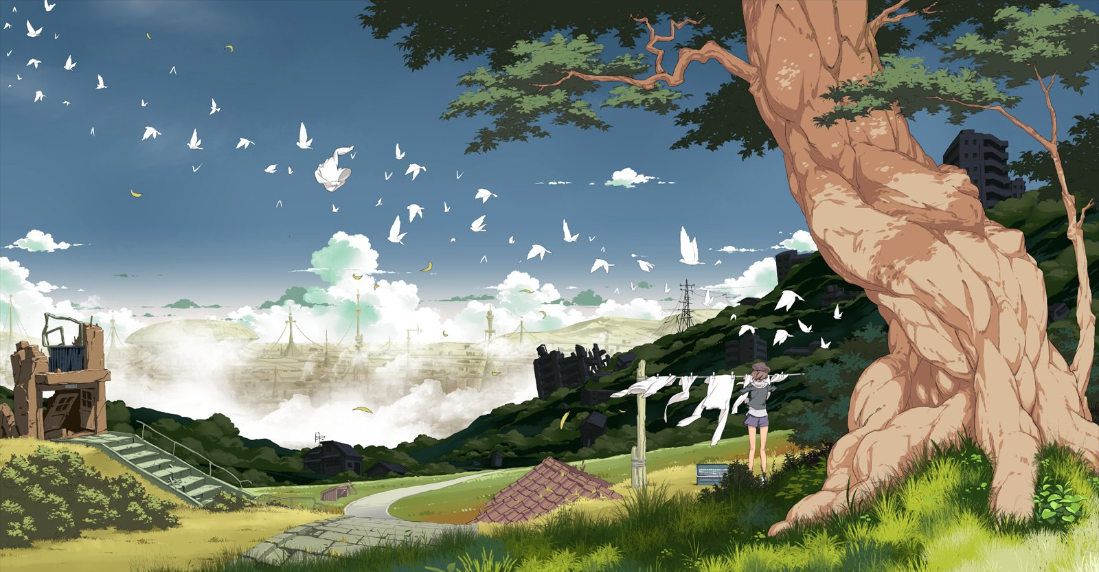 Anime girls Landscapes Trees HD Wallpaper