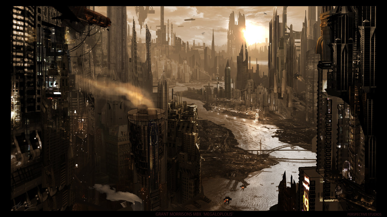 apocalyptic Alex Ruiz cityscapes HD Wallpaper