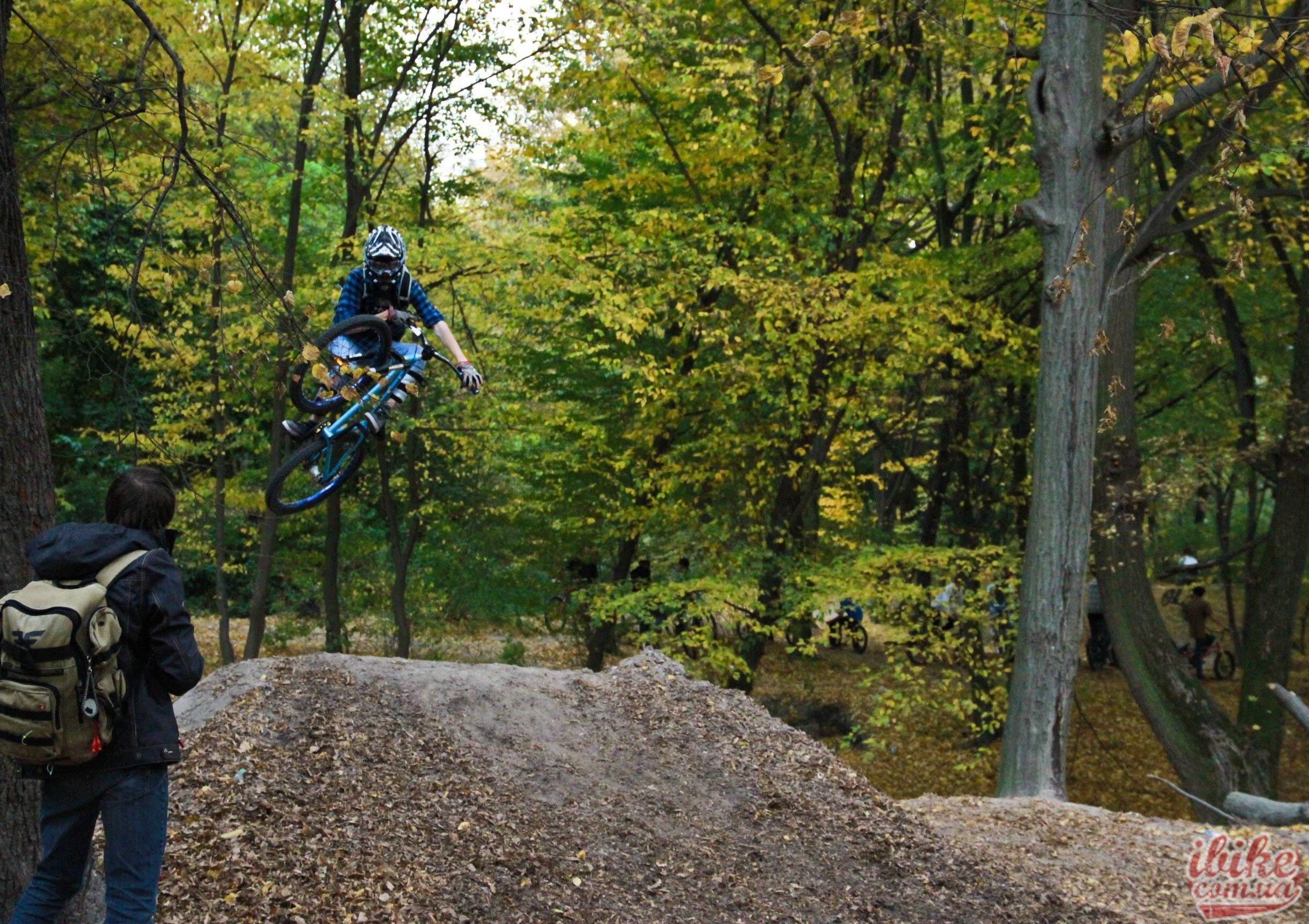 autumn Ukraine jumping forests mountain bikes HD Wallpaper