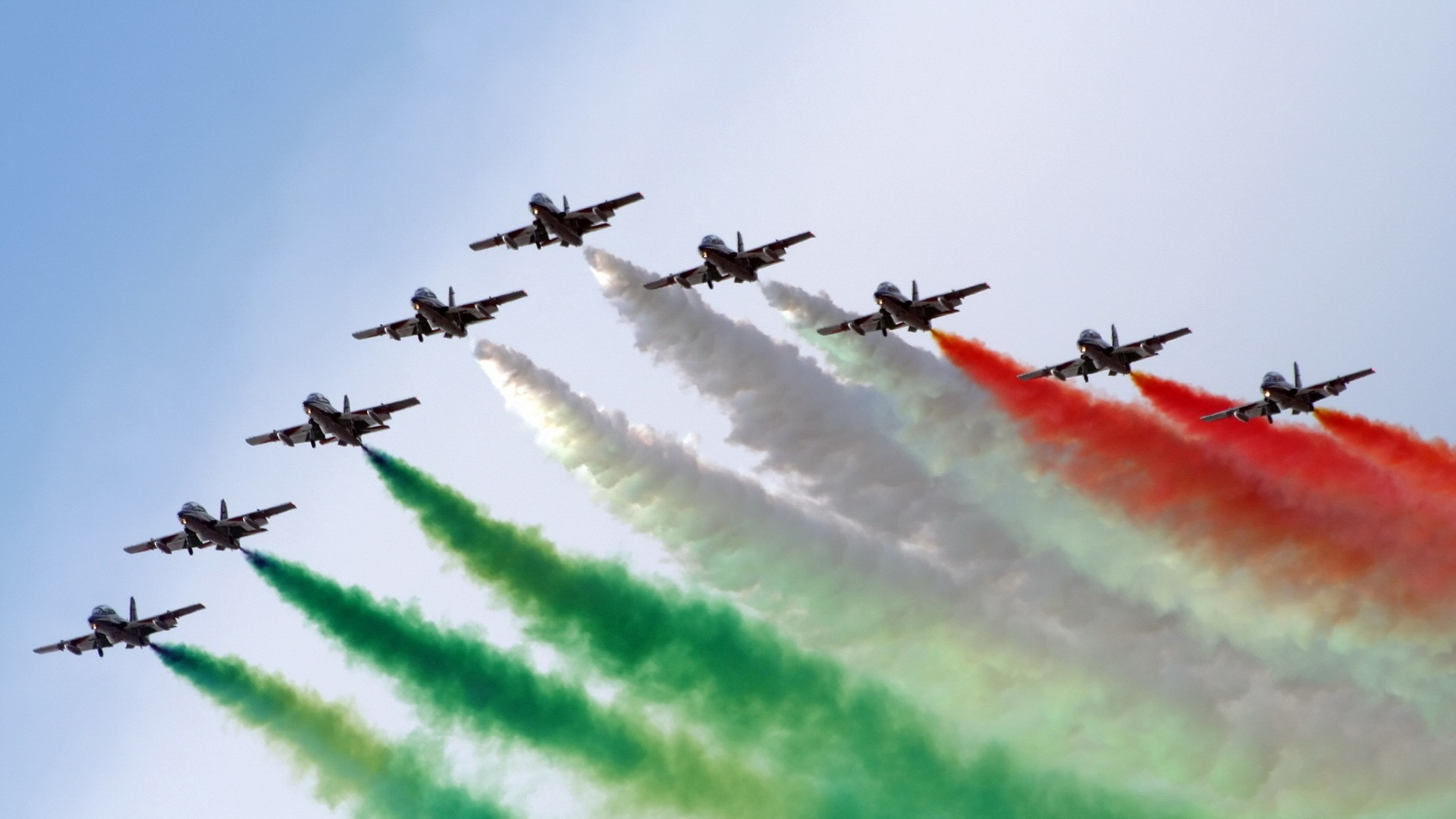 aviation skyscapes Frecce Tricolori HD Wallpaper