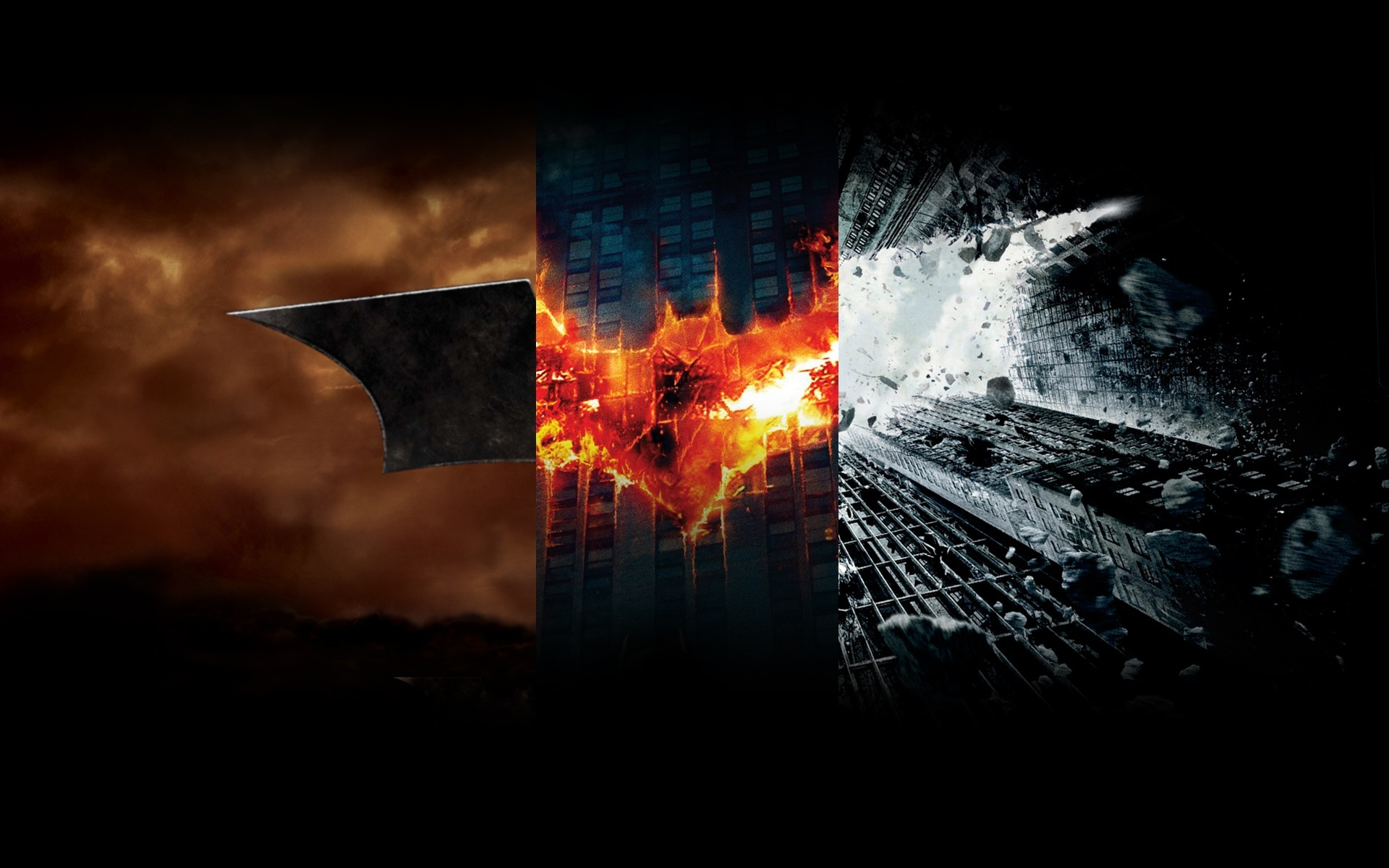 Batman Begins logos panels HD Wallpaper