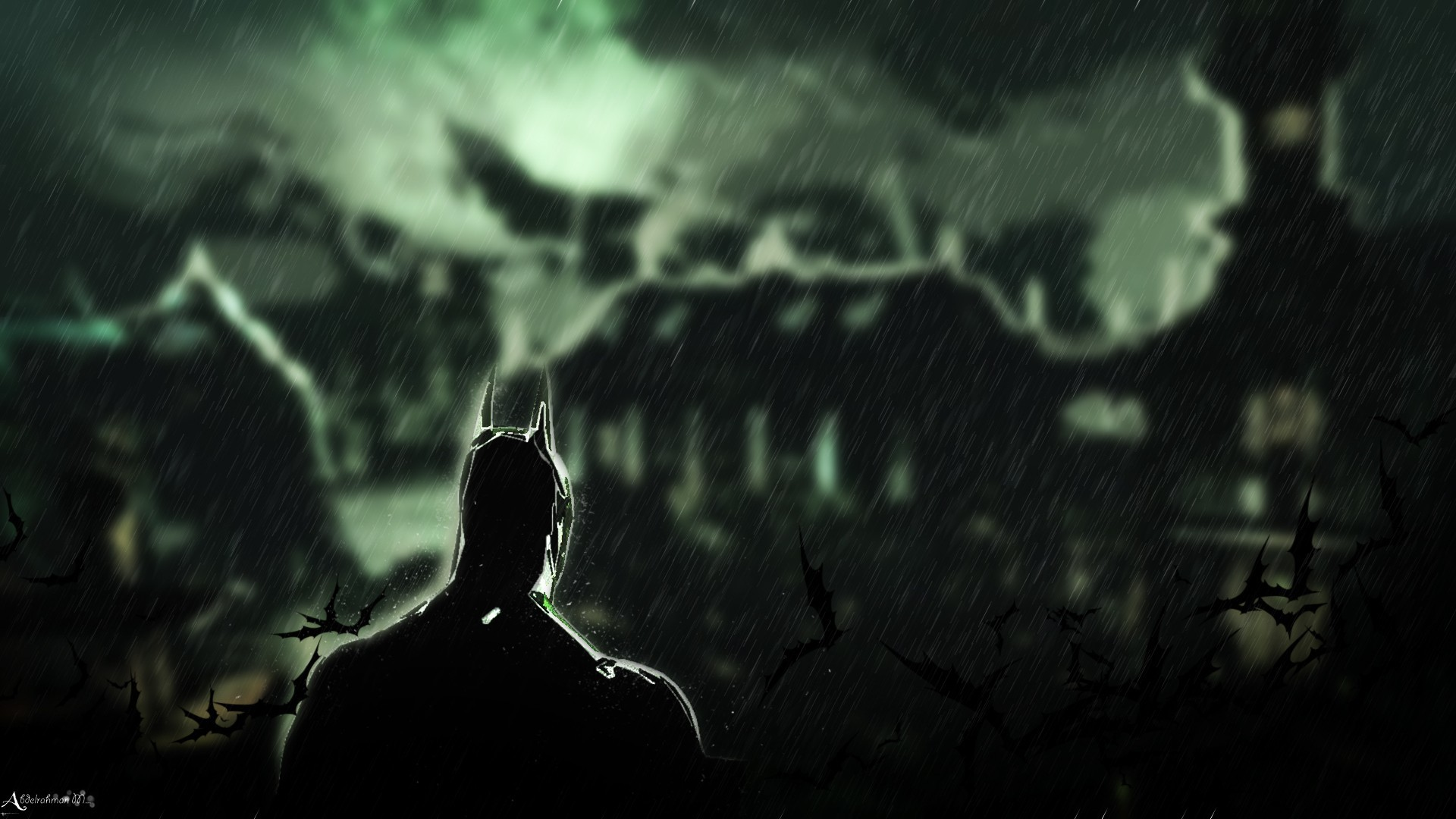 Batman rain batman arkham HD Wallpaper