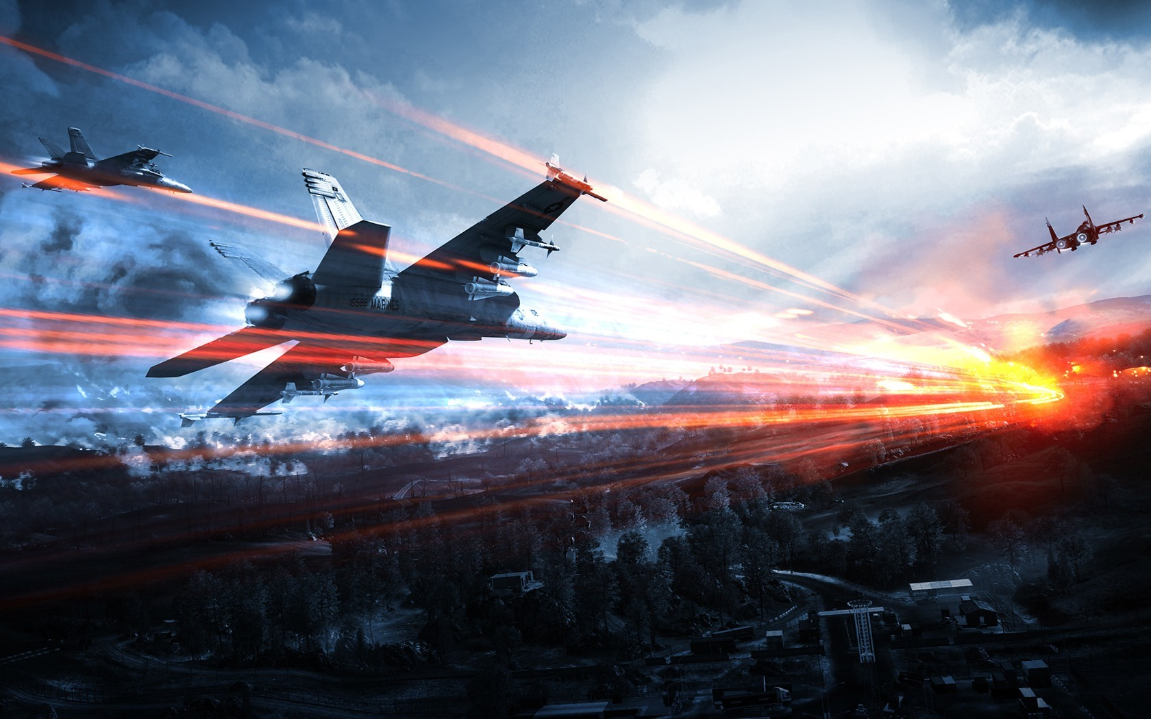battlefield f-18 hornet jet HD Wallpaper