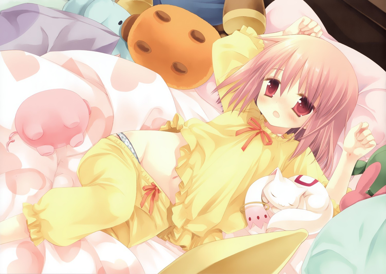 beds pink hair lolicon HD Wallpaper