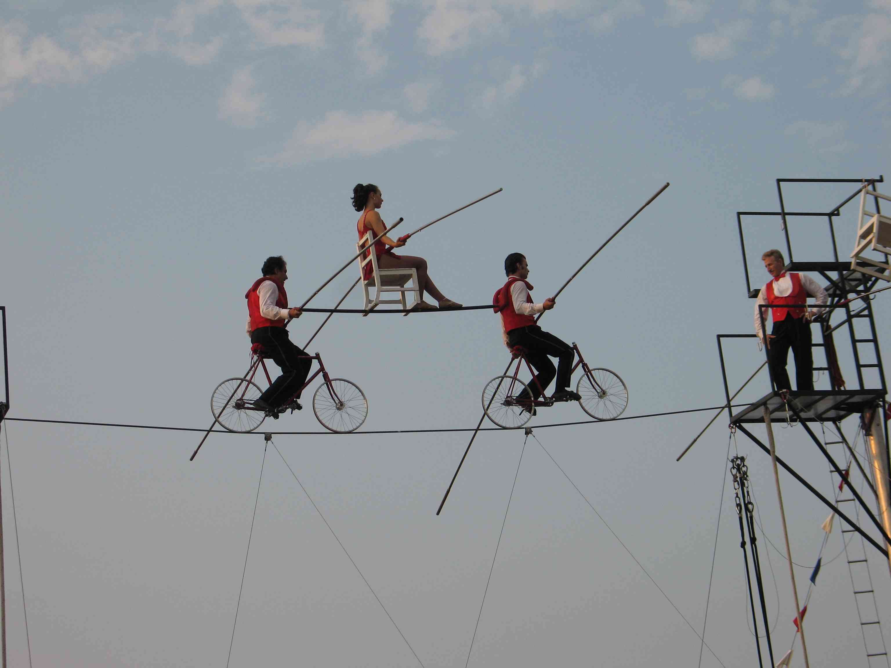 bicycle high wire HD Wallpaper