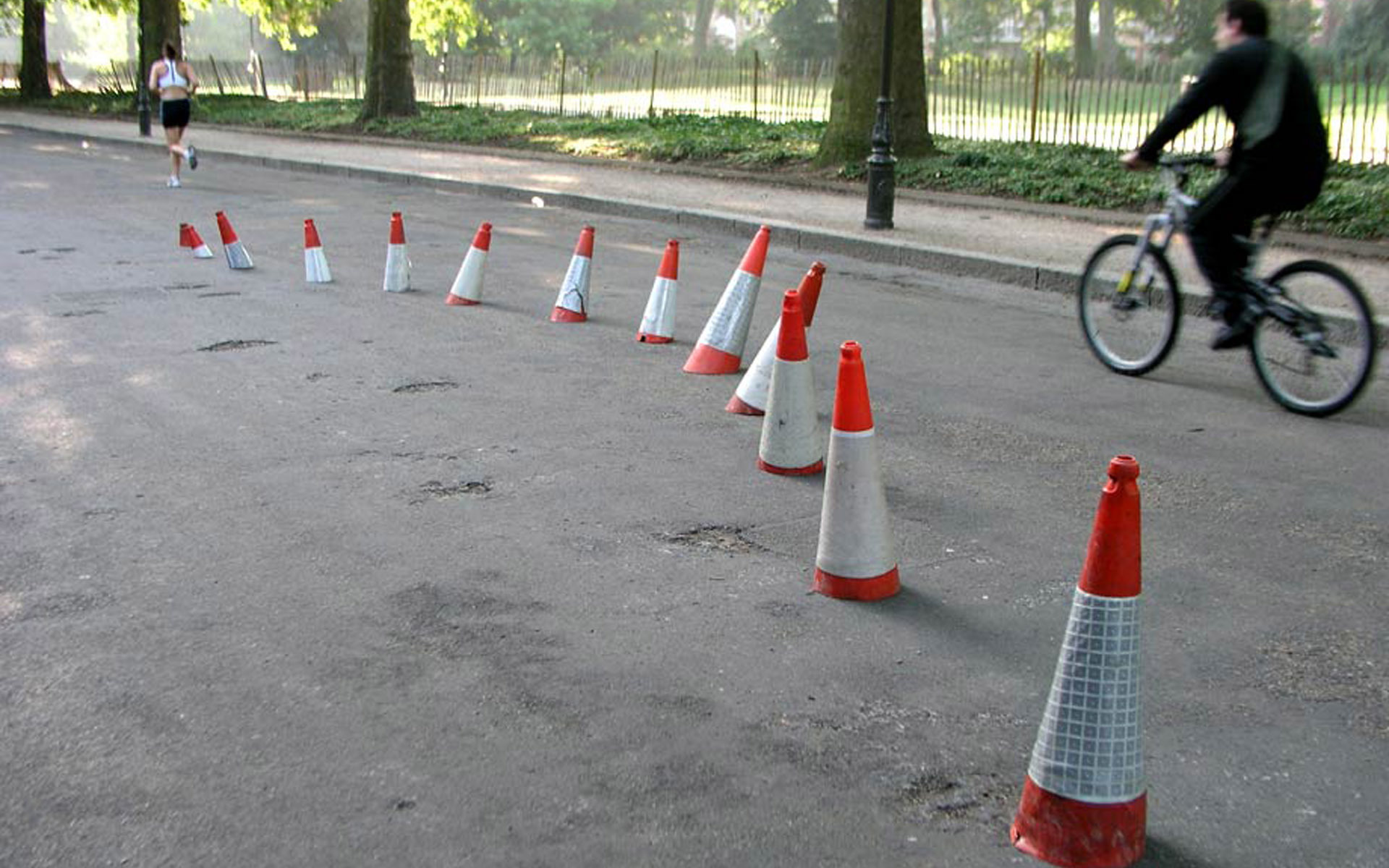 Bicycles roads traffic cones