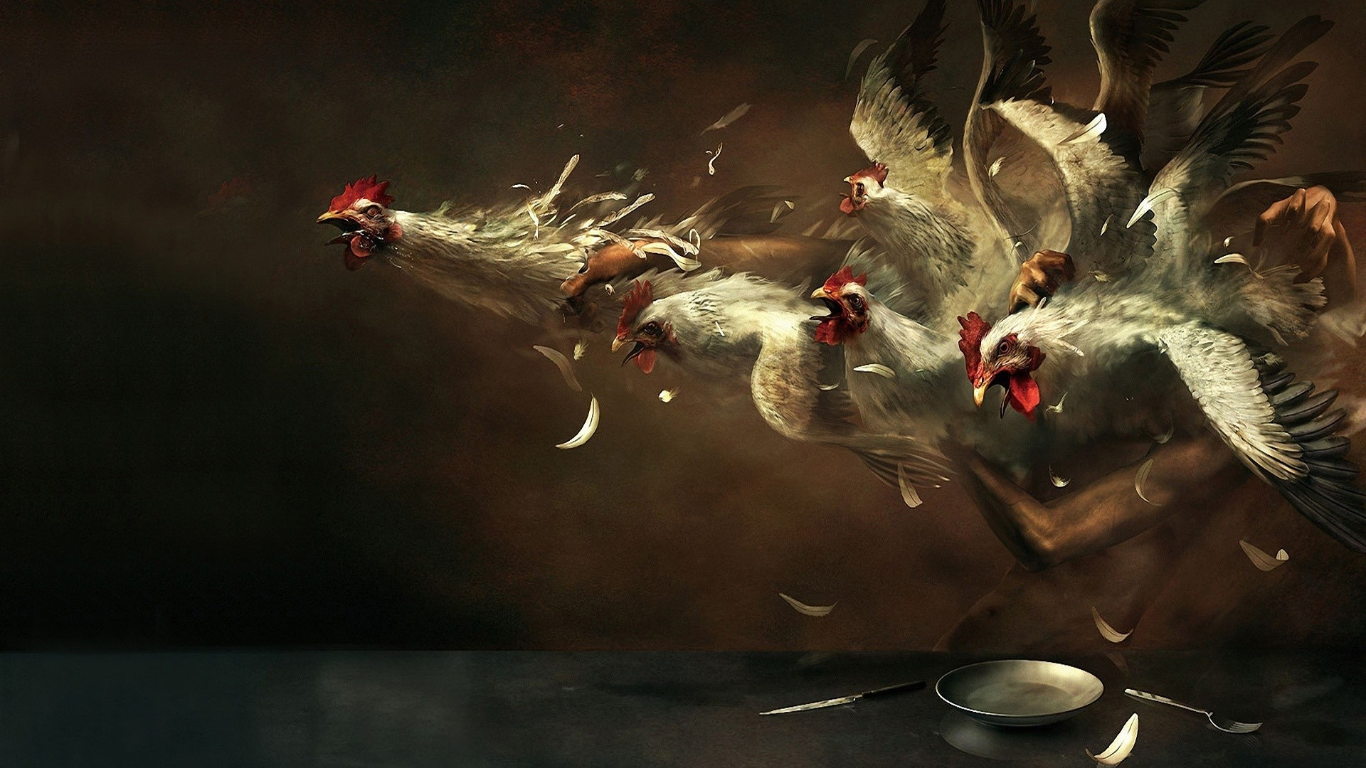 Birds Chickens realistic roosters HD Wallpaper