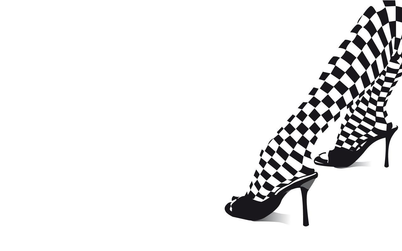 Black  White Dress Shoes on Black And White Fashion Shoes High Heels Checkered Hd Wallpaper Of