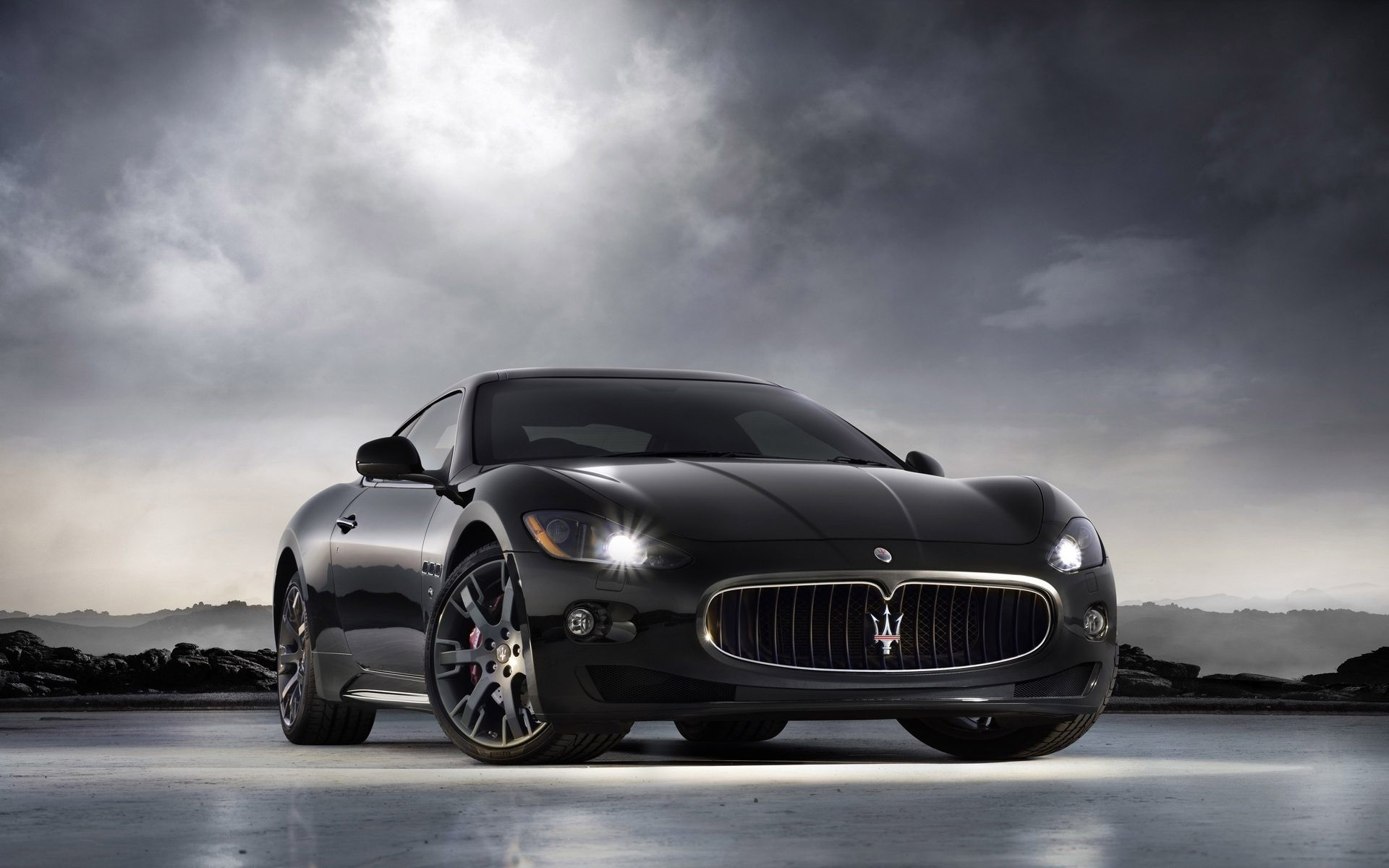 black cars cars Maserati HD Wallpaper