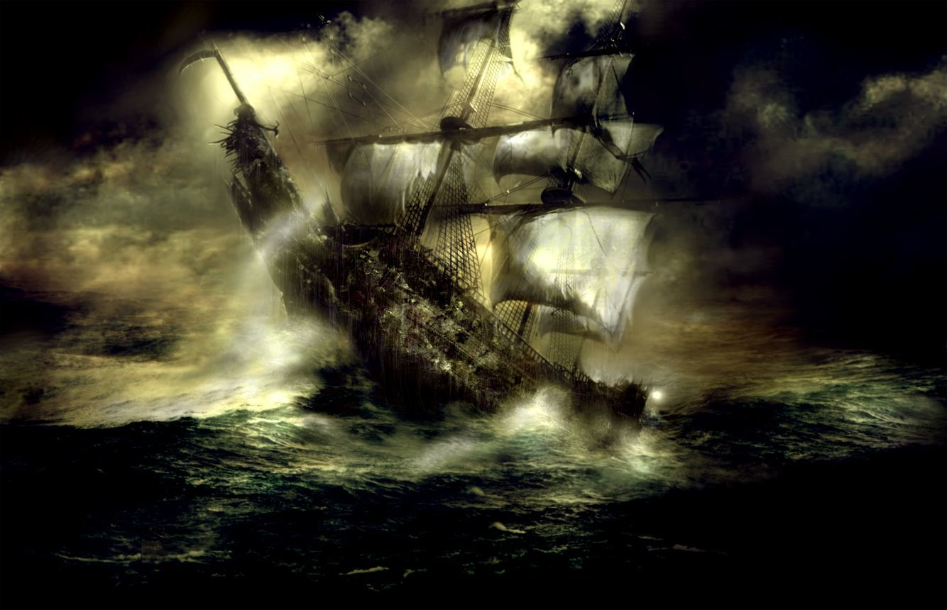 black dark pirate ship
