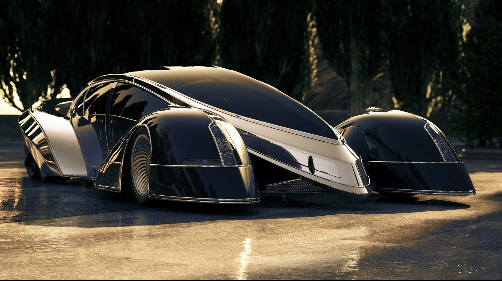 black futuristic cars shiny