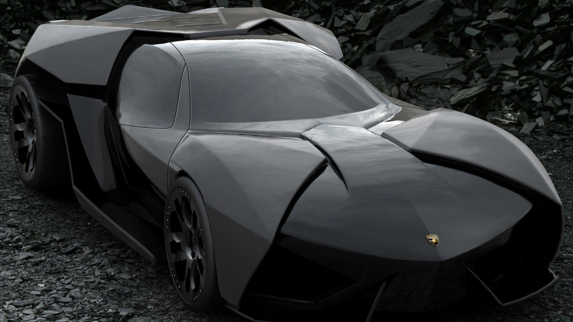 black Lamborghini Ankonian Concept HD Wallpaper