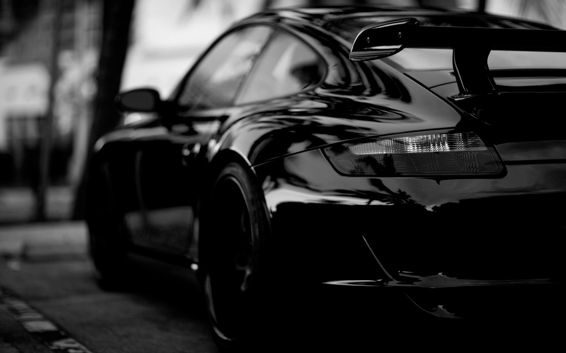 black Porsche carrera monochrome HD Wallpaper