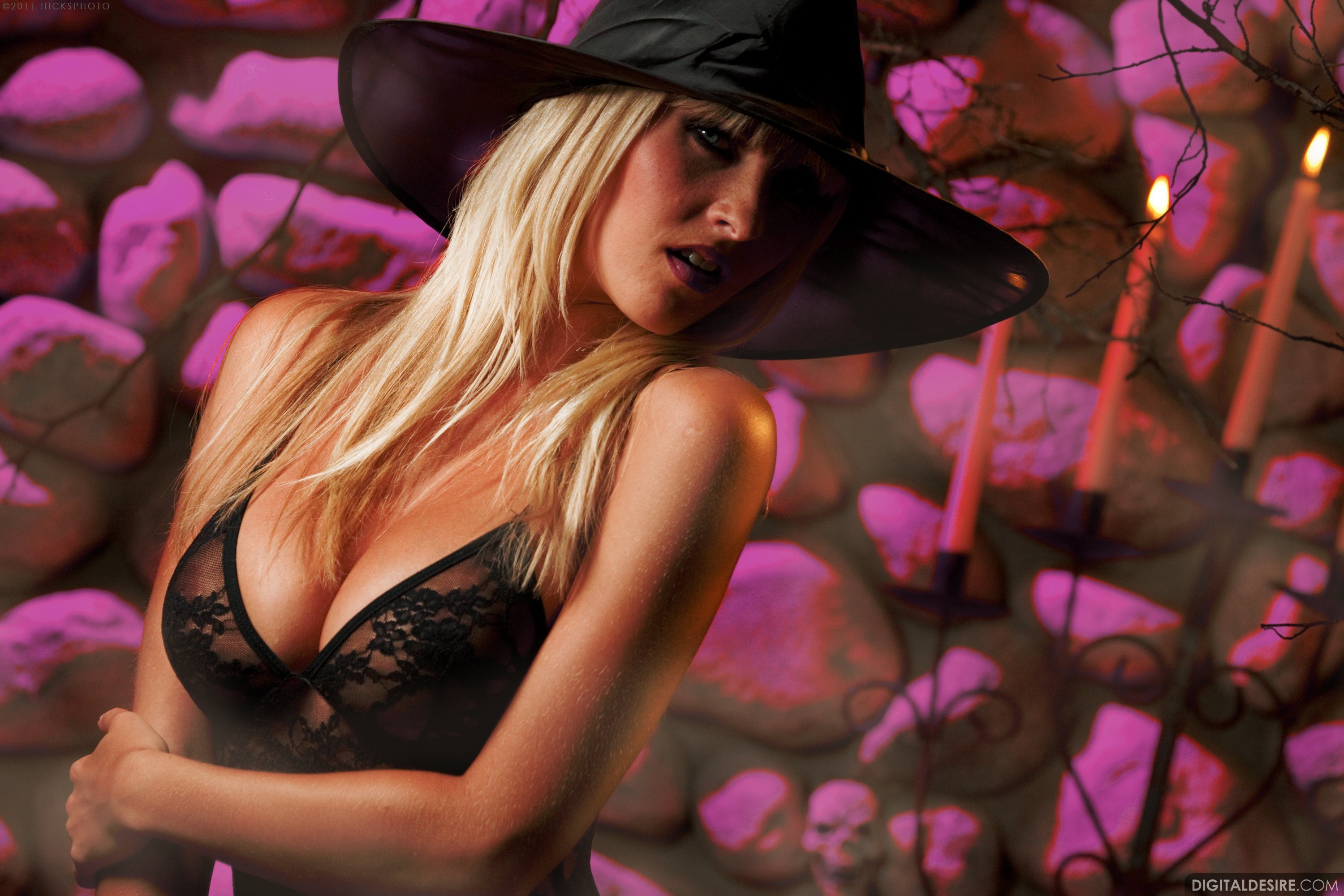 black woman Candles hats Halloween blondes HD Wallpaper
