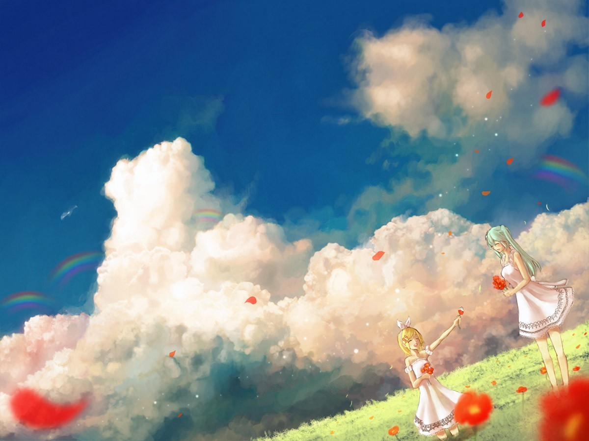 blondes clouds Landscapes vocaloid HD Wallpaper