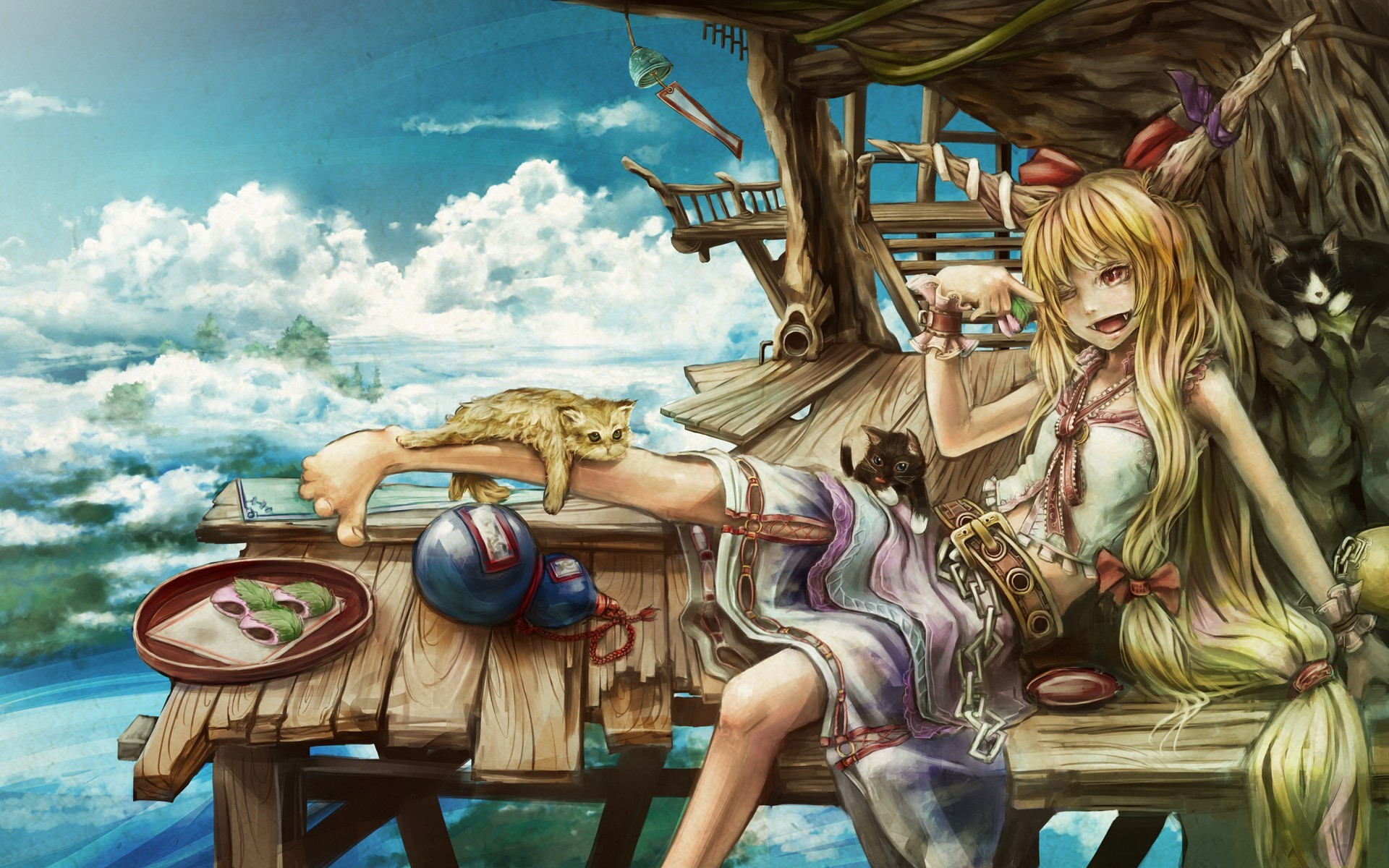 blondes clouds touhou cats HD Wallpaper